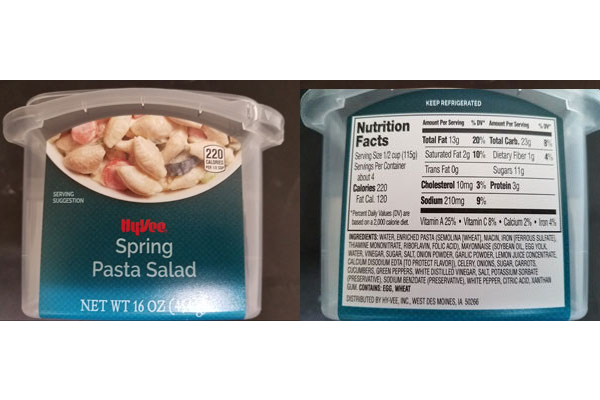 Hy-Vee Grocery Chain Recalls Pasta Salad Tied To Salmonella