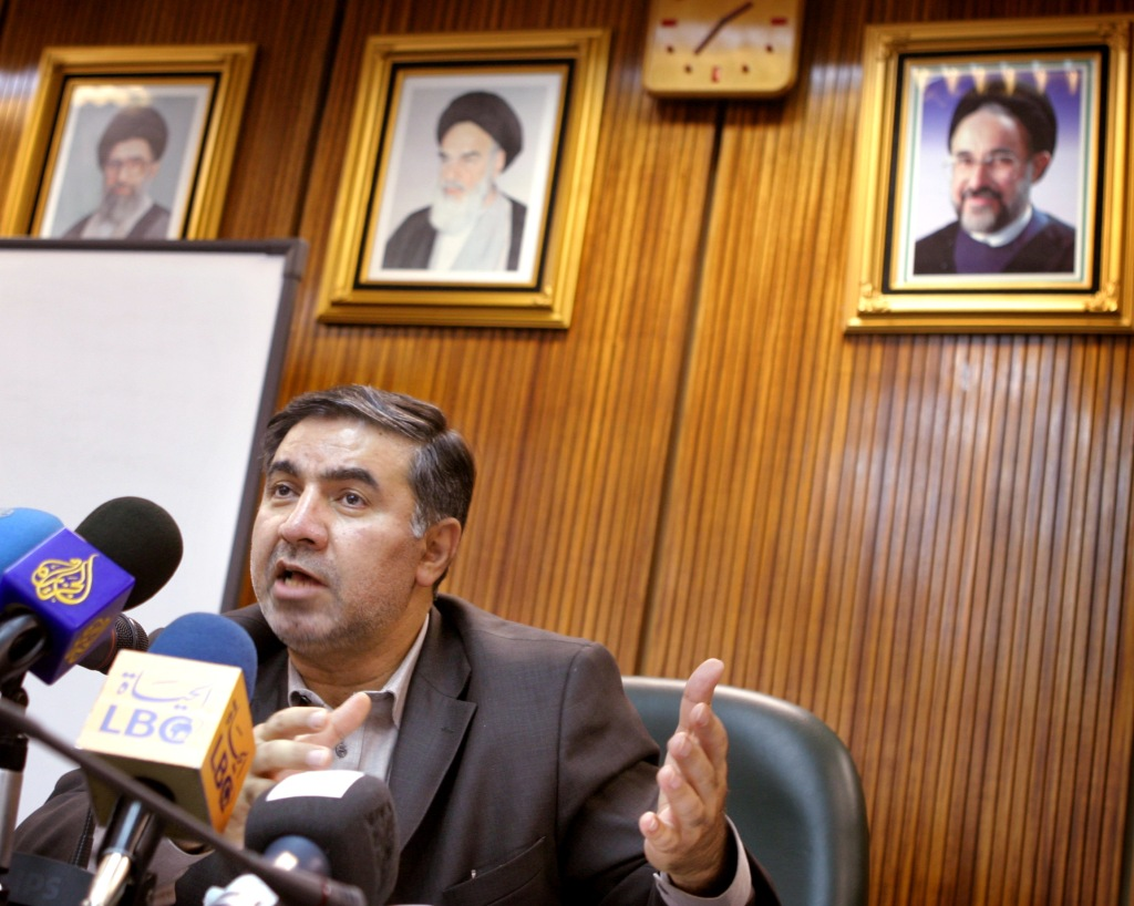 Iran's OPEC Governor Kazempour speaks to journalists at a news conference in Tehran.
