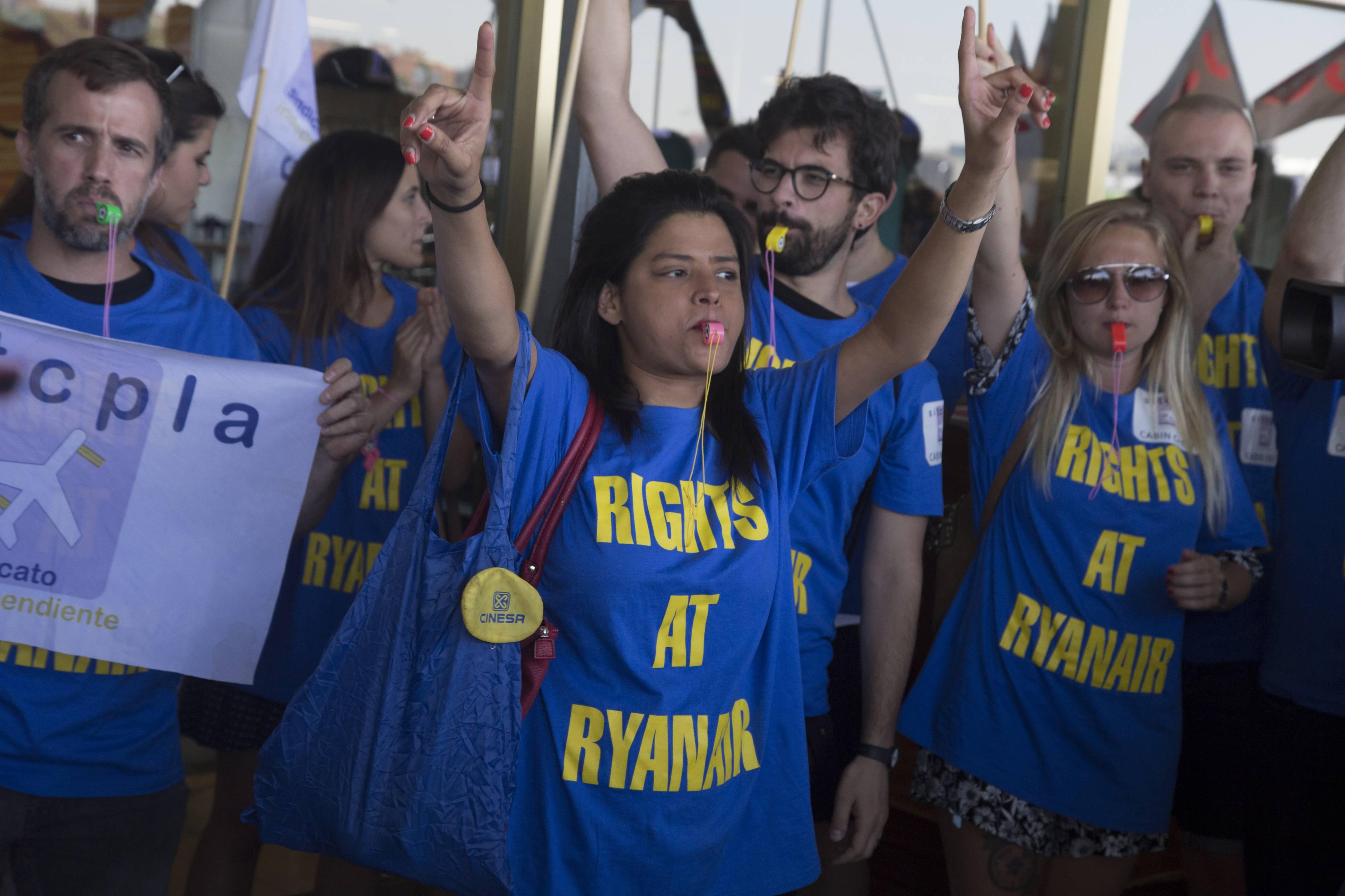 Ryanair cabin crew on strike. The protesters were demanding