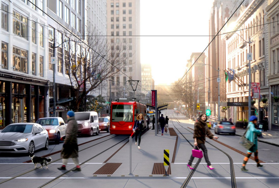A rendering of a future streetcar station at 1st Ave. and Spring St. in downtown Seattle.