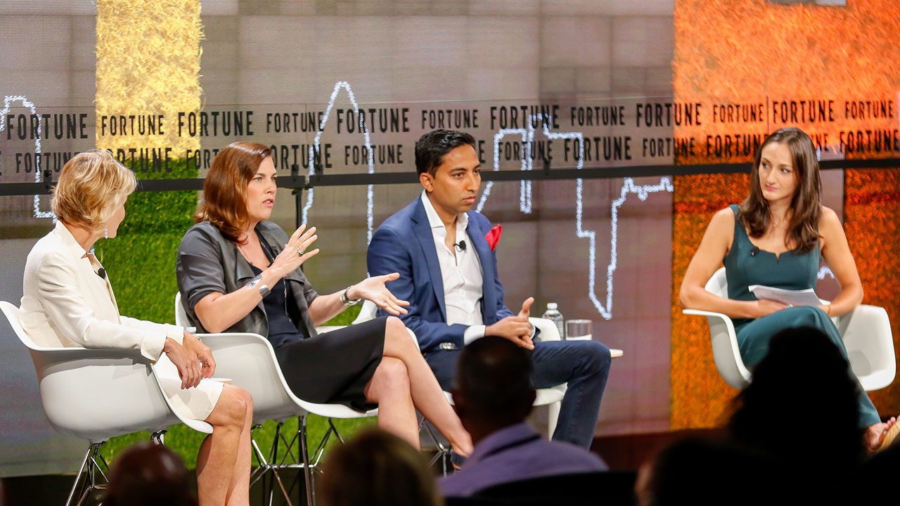 Stripe COO Claire Hughes Johnson (middle) speaks onstage at Fortune's Brainstorm Tech conference in July 2018, along with IBM's Bridget van Kralingen (left), Ripple's Asheesh Birla and Fortune's Jen Wieczner (right).