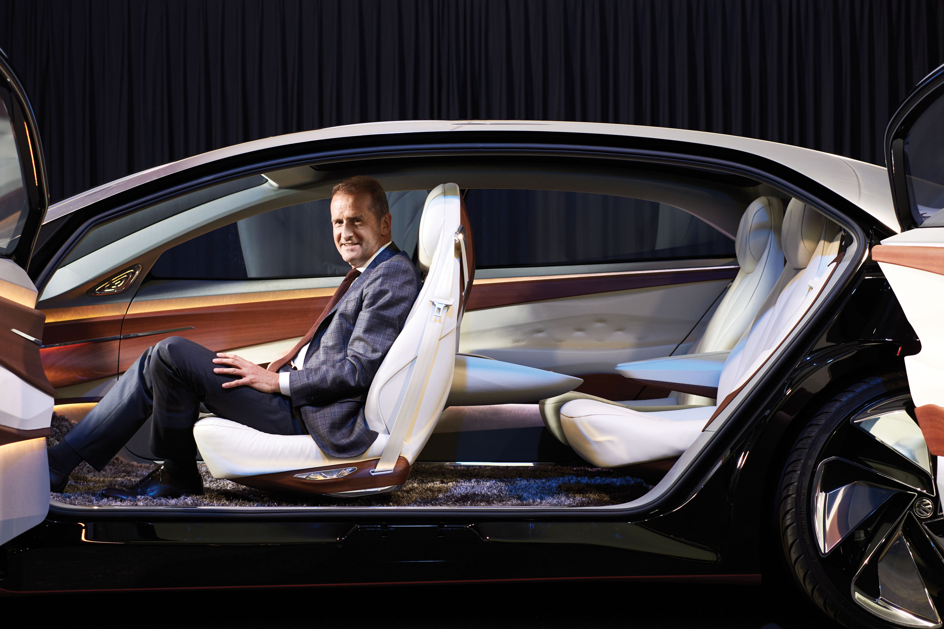 DRIVING CHANGE: New Volkswagen CEO Herbert Diess, here in a self-driving concept car at VW's innovation center, is investing heavily in new technology