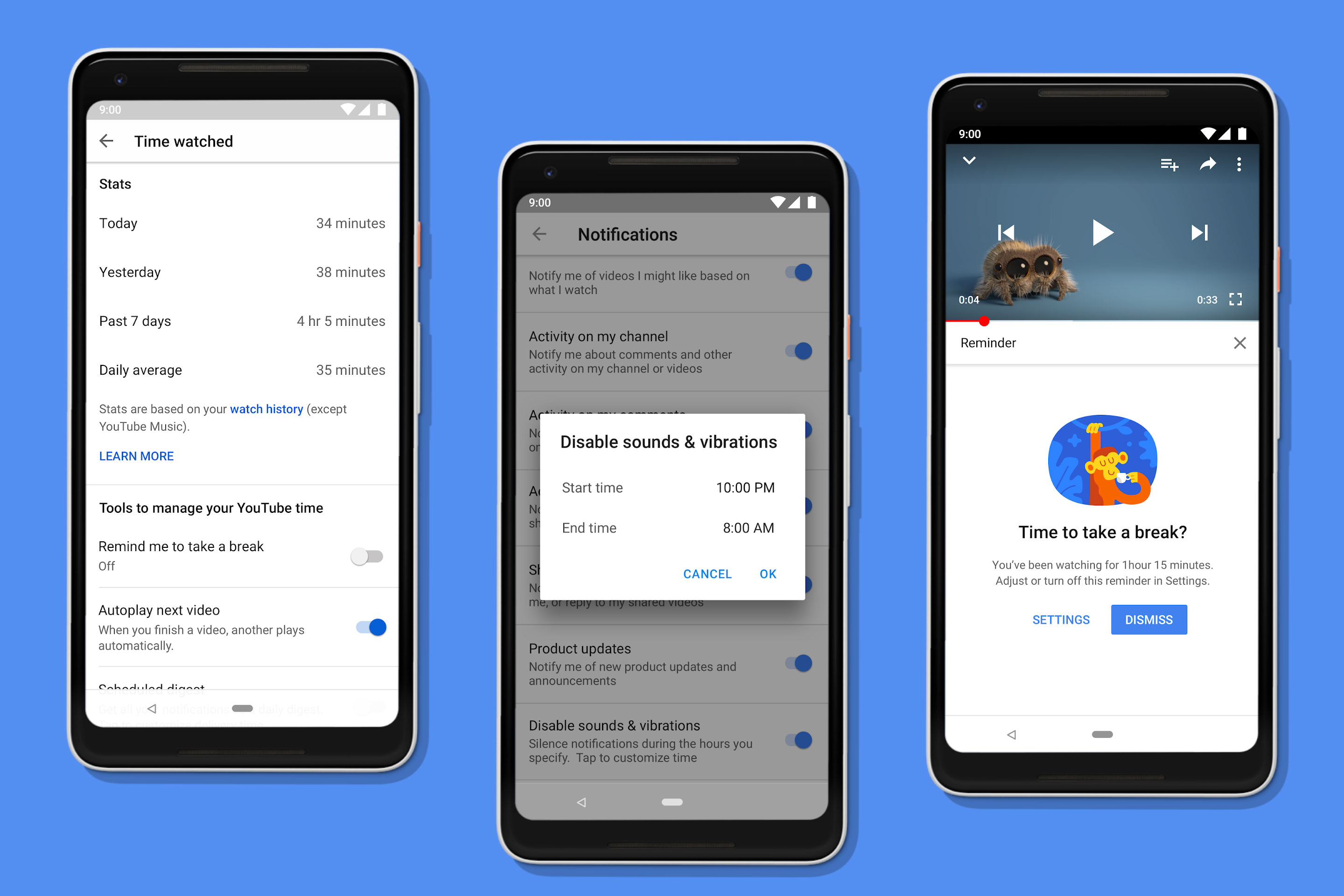 New digital wellbeing tools released by YouTube can track and limit usage and remind users to take breaks.