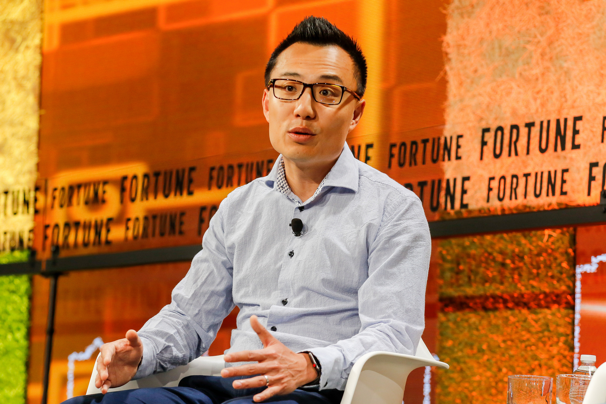 DoorDash CEO Tony Xu speaking at Fortune Brainstorm Tech 2018 in Aspen, Colo.