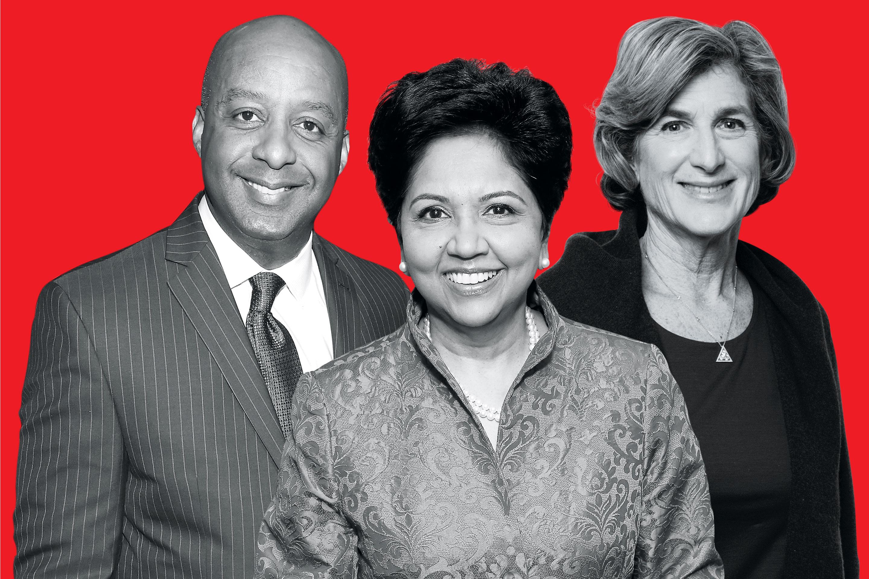From left: Marvin Ellison, Indra Nooyi, and Denise Morrison.