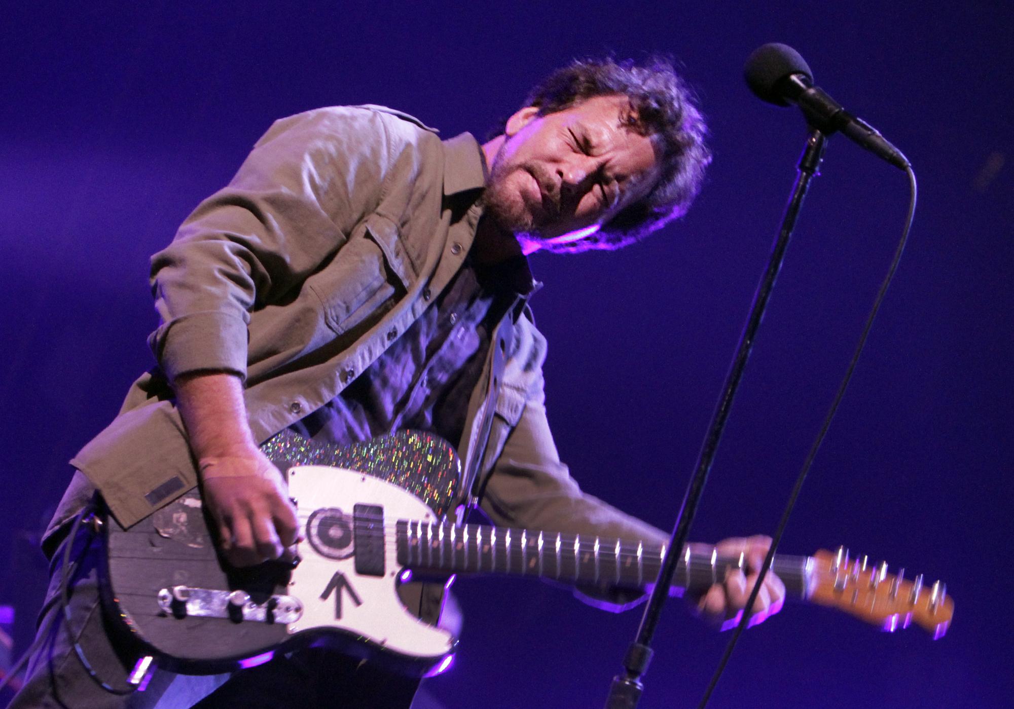 Eddie Vedder of Pearl Jam performs at the LA Sports Arena on Nov. 23, 2013.  Pearl Jam performs at