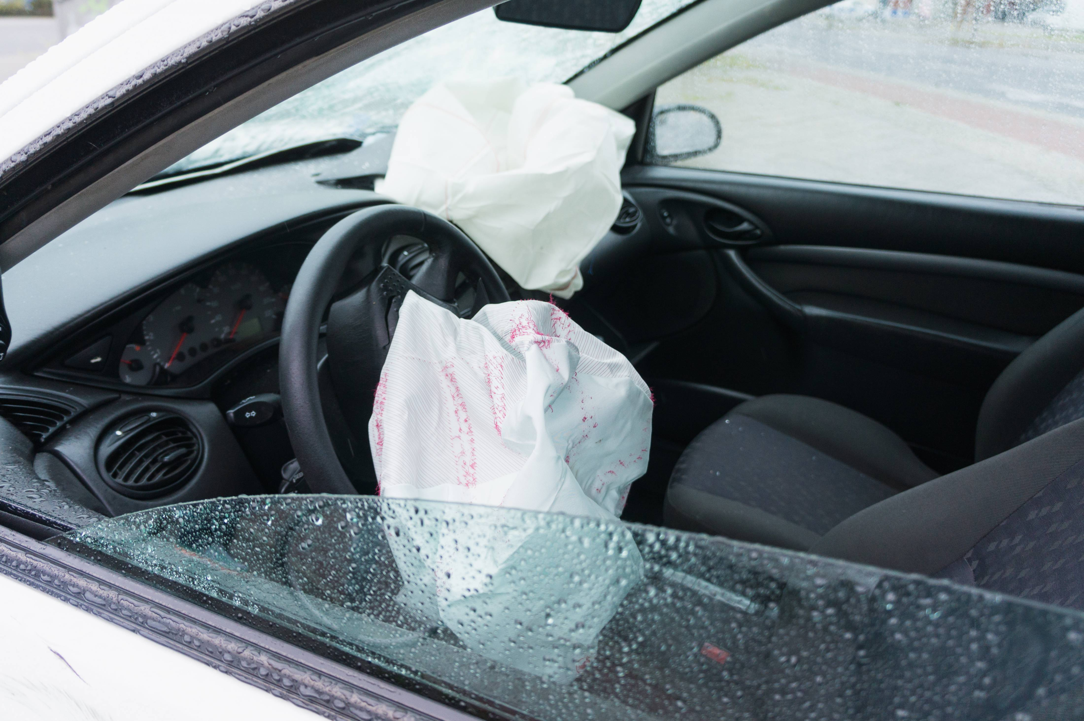 Crashed Car With Airbags