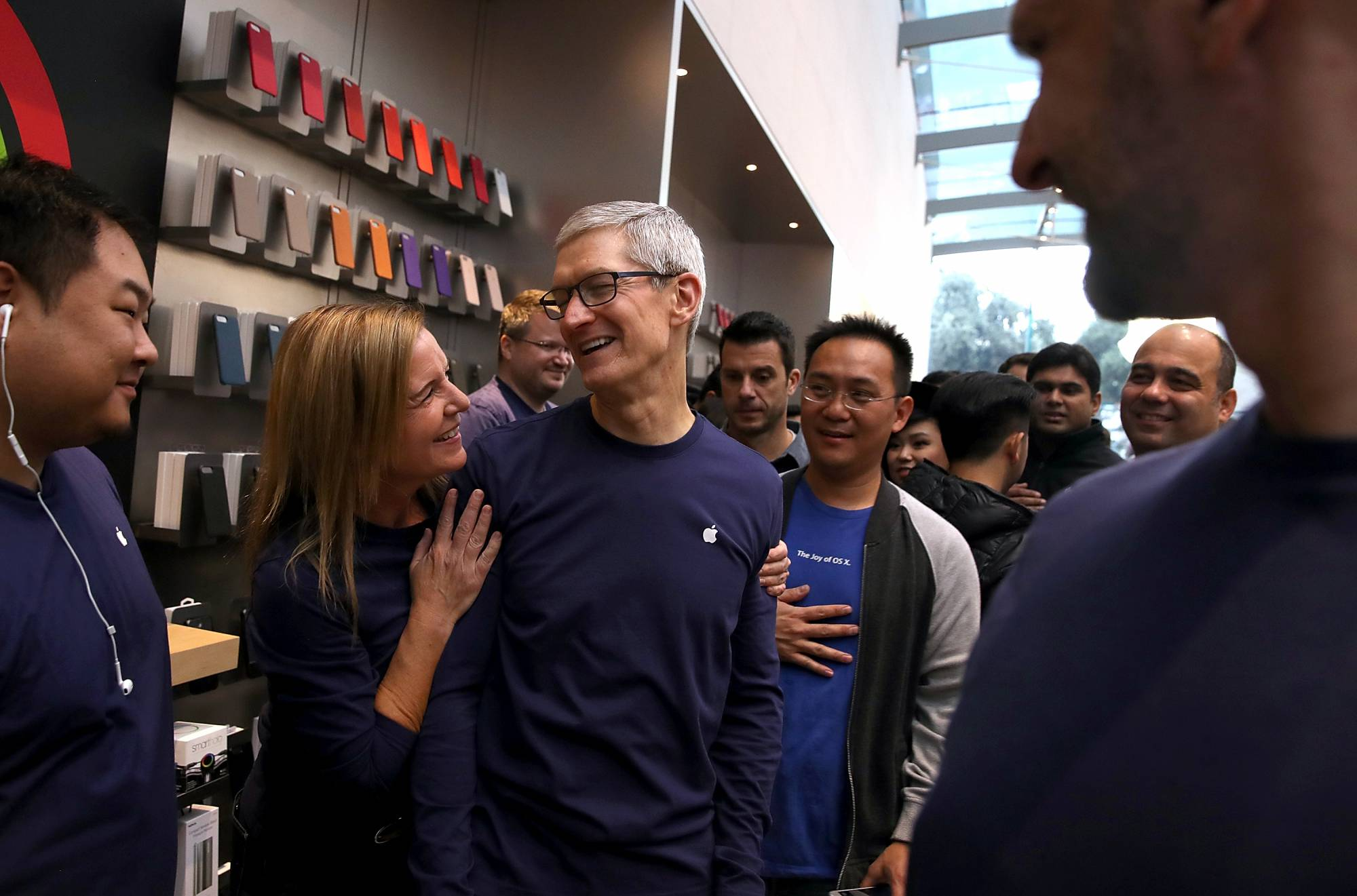 Apple ceo tim cook with the new iphone x