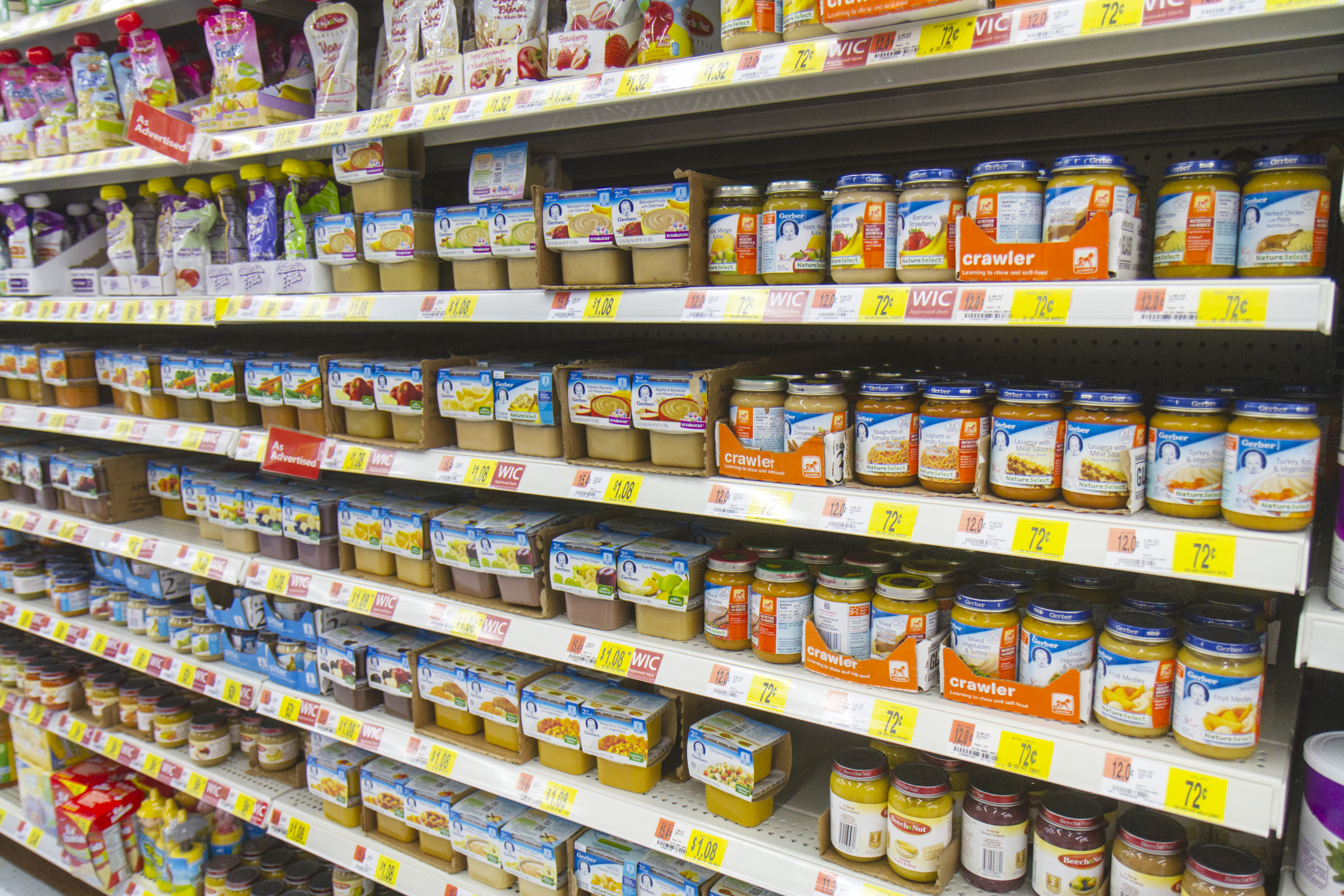Baby food for sale inside Walmart.