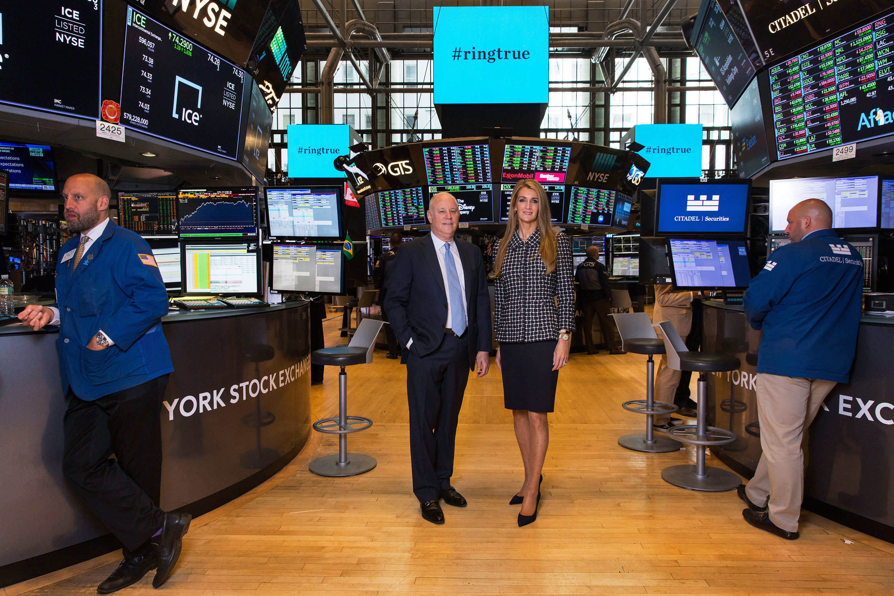 Jeff Sprecher, Intercontinental Exchange chairman and CEO, with his wife Kelly Loeffler, an ICE executive who will be CEO of the startup Bakkt, on the trading floor of the NYSE on July 9, 2018.