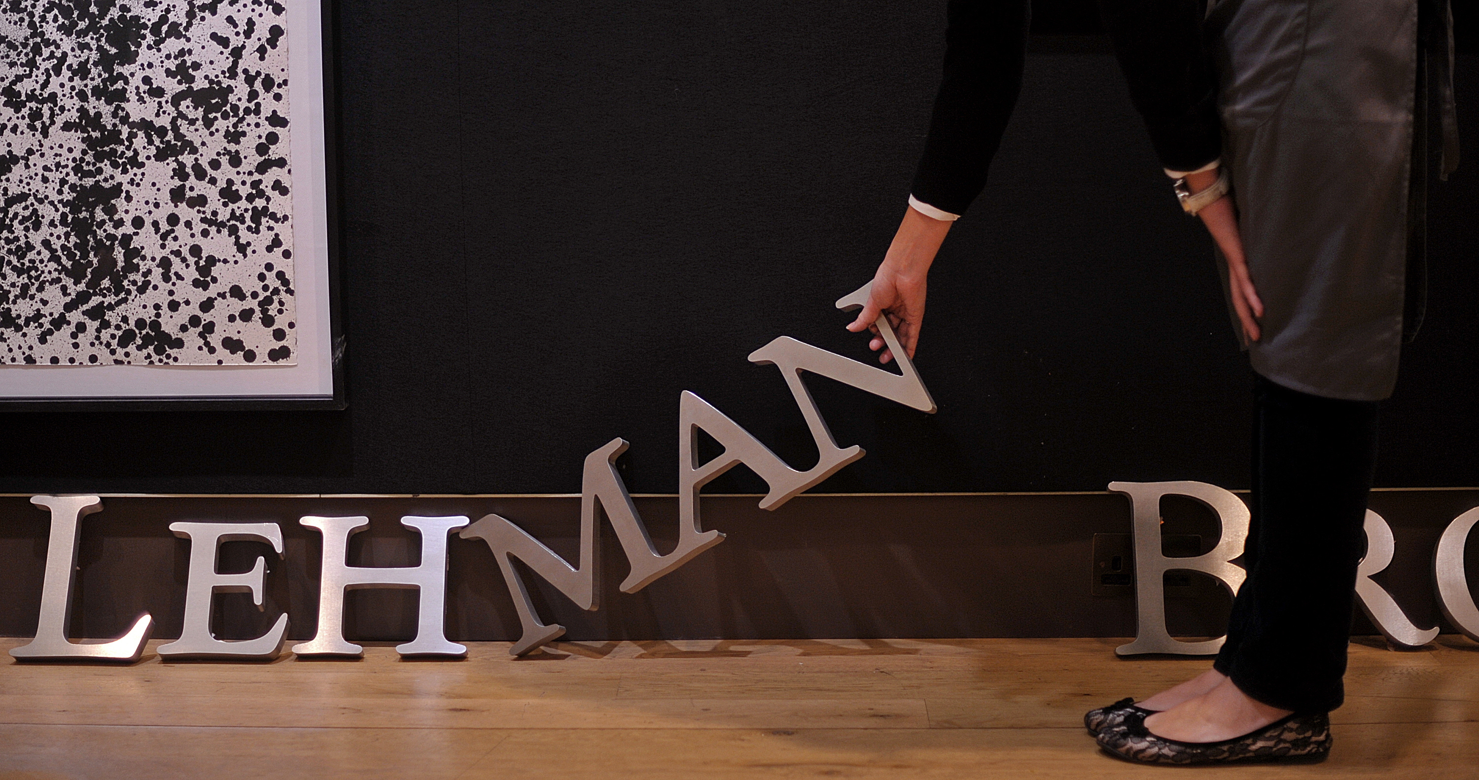 Part of a Lehman Brothers company sign at Christie's auction house in London on September 24, 2010.