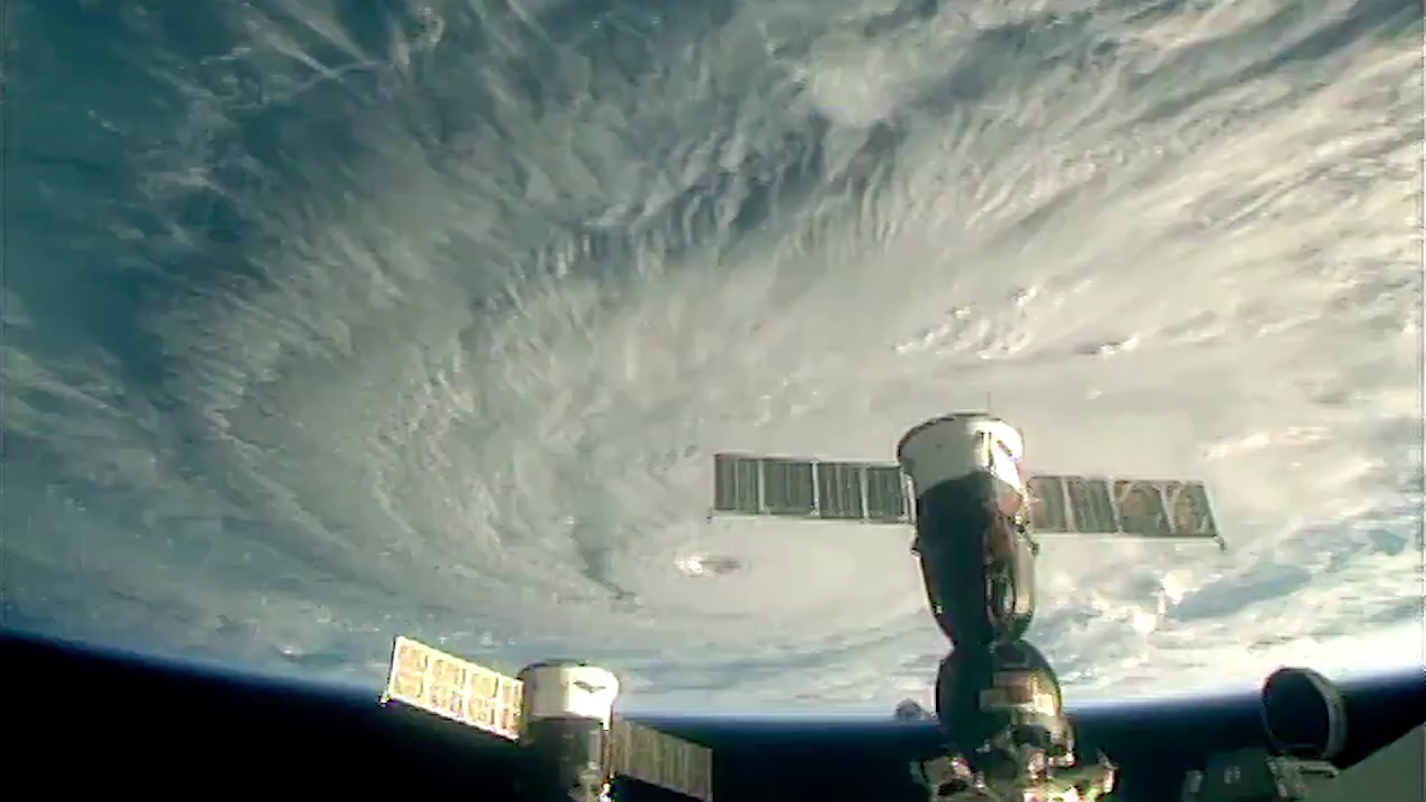 A frame from NASA's August 2018 video of Hurricane Lane over the Hawaiian islands.