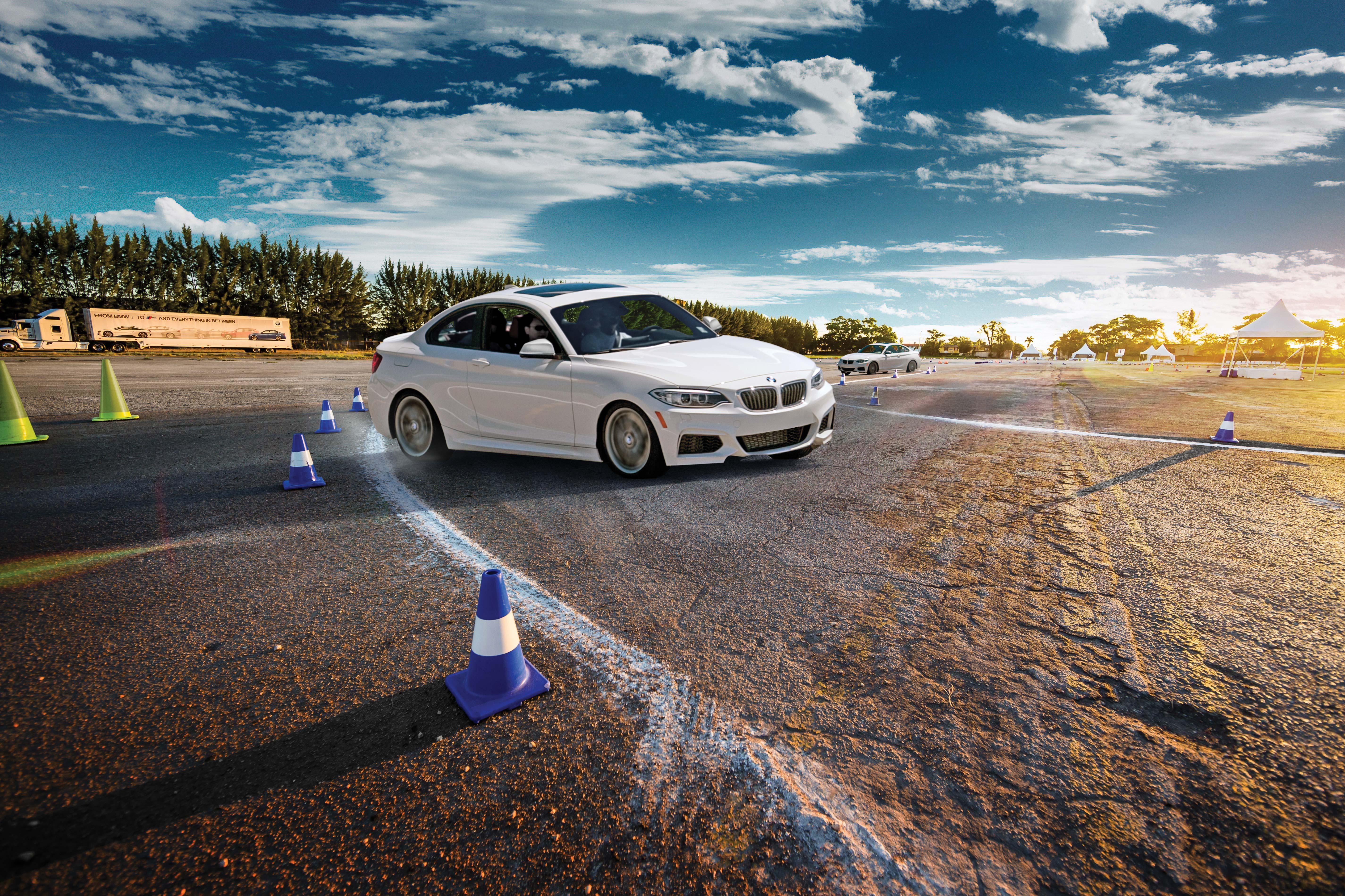 A BMW car on a track