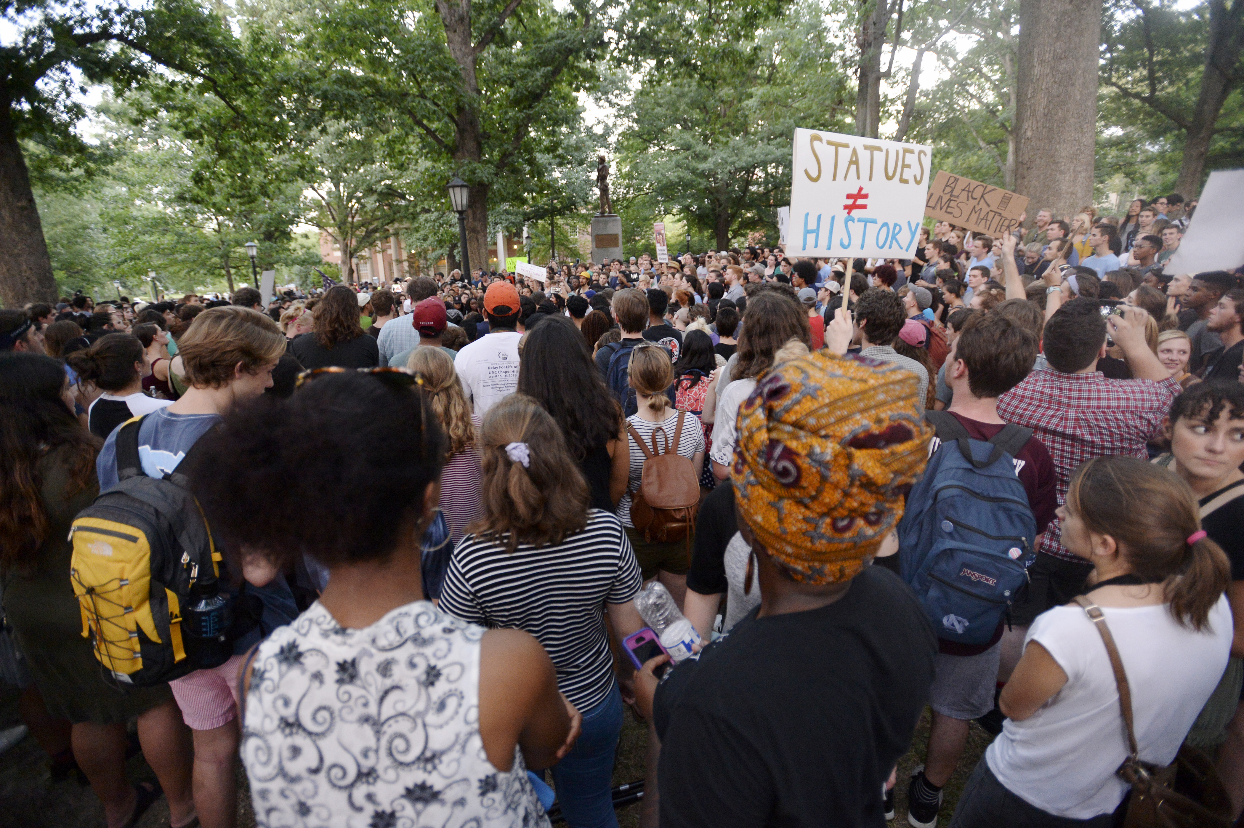 "Rally Protesting UNC's Confederate Era Monument ""Silent Sam"" Held On Campus"