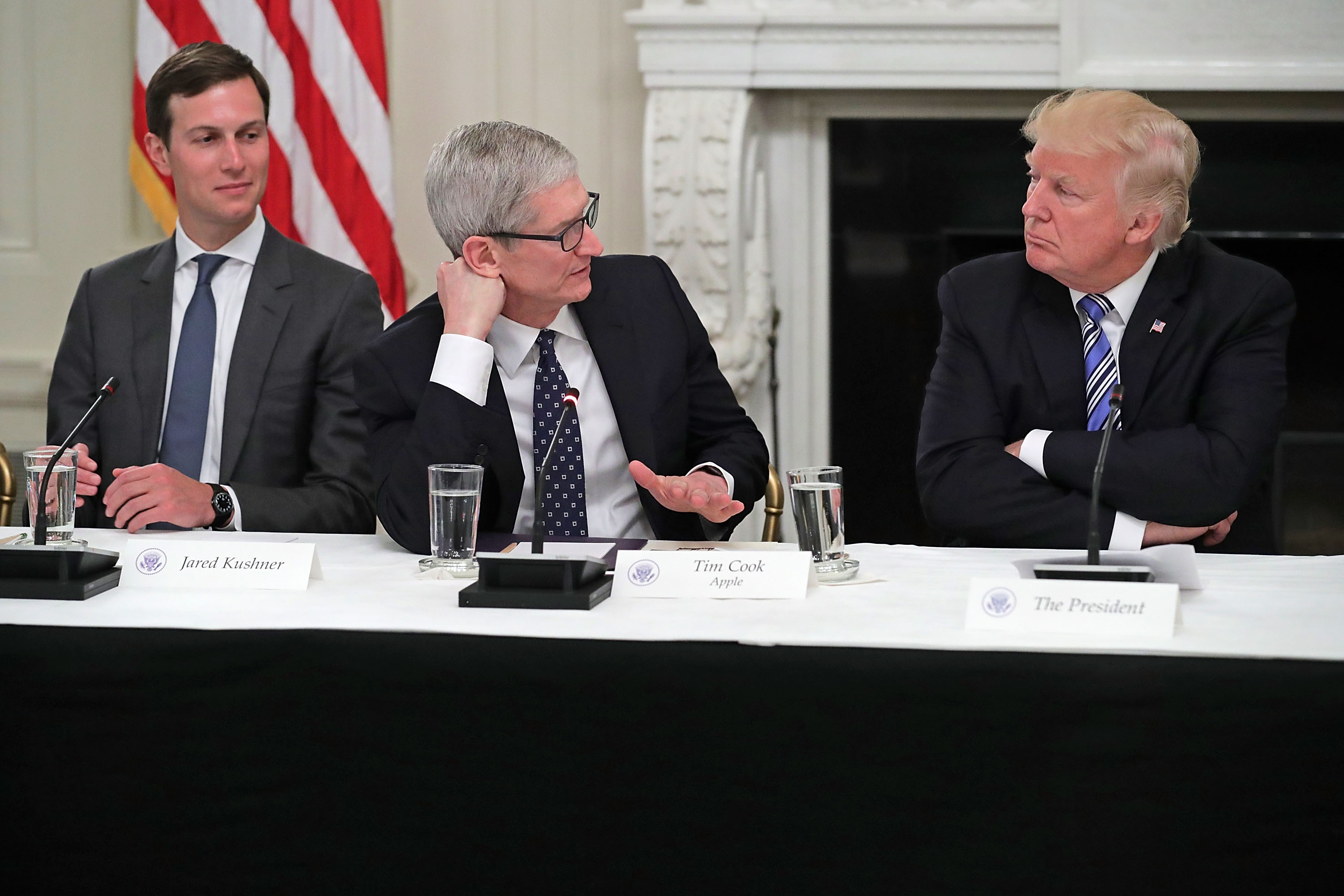 "CEO members of the Business Roundtable, including Apple's Tim Cook, say the administration's policies are ""causing considerable anxiety."""