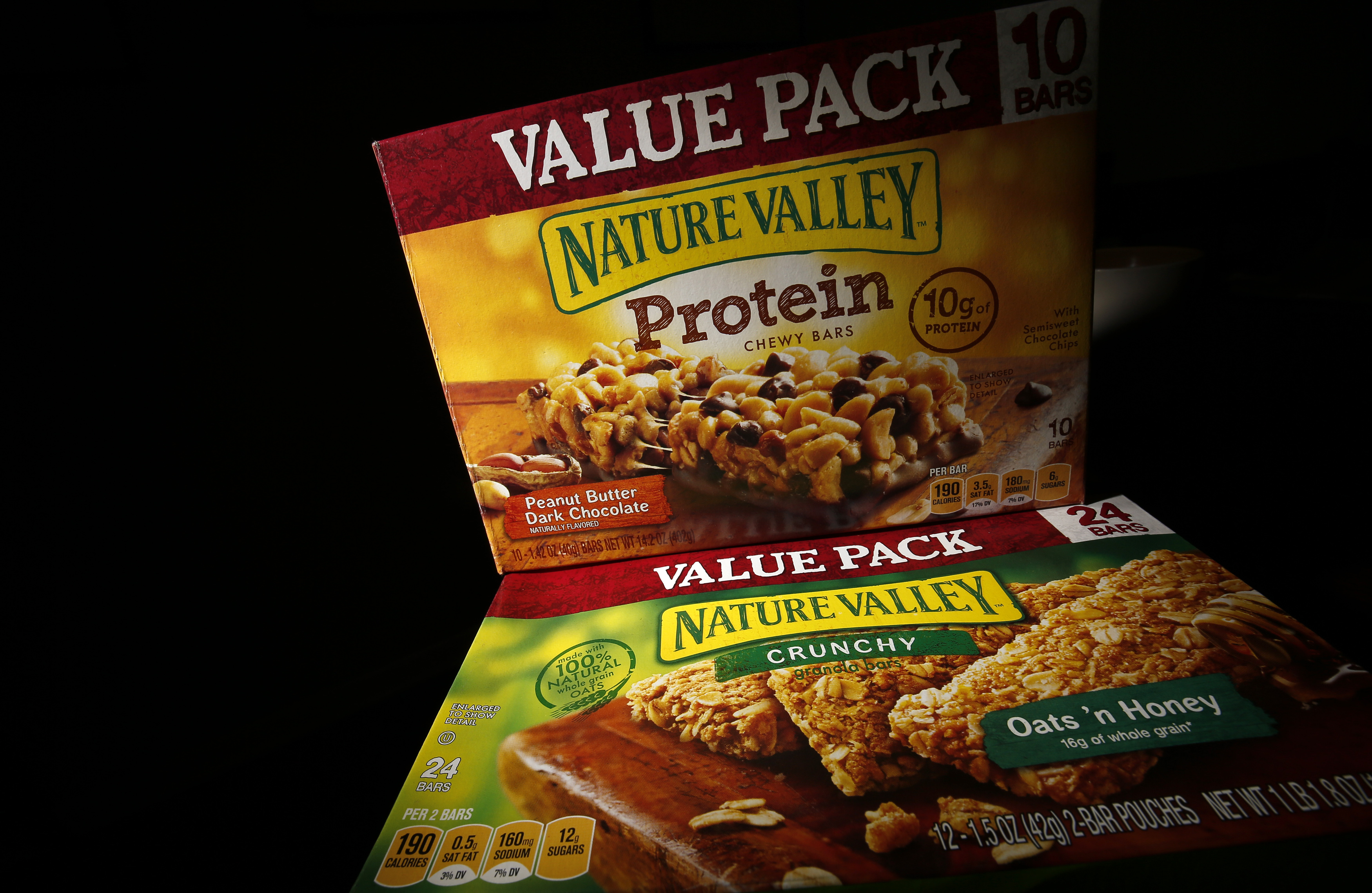 Two boxes of Nature Valley bars are seen in this photo illustration in Wilmette