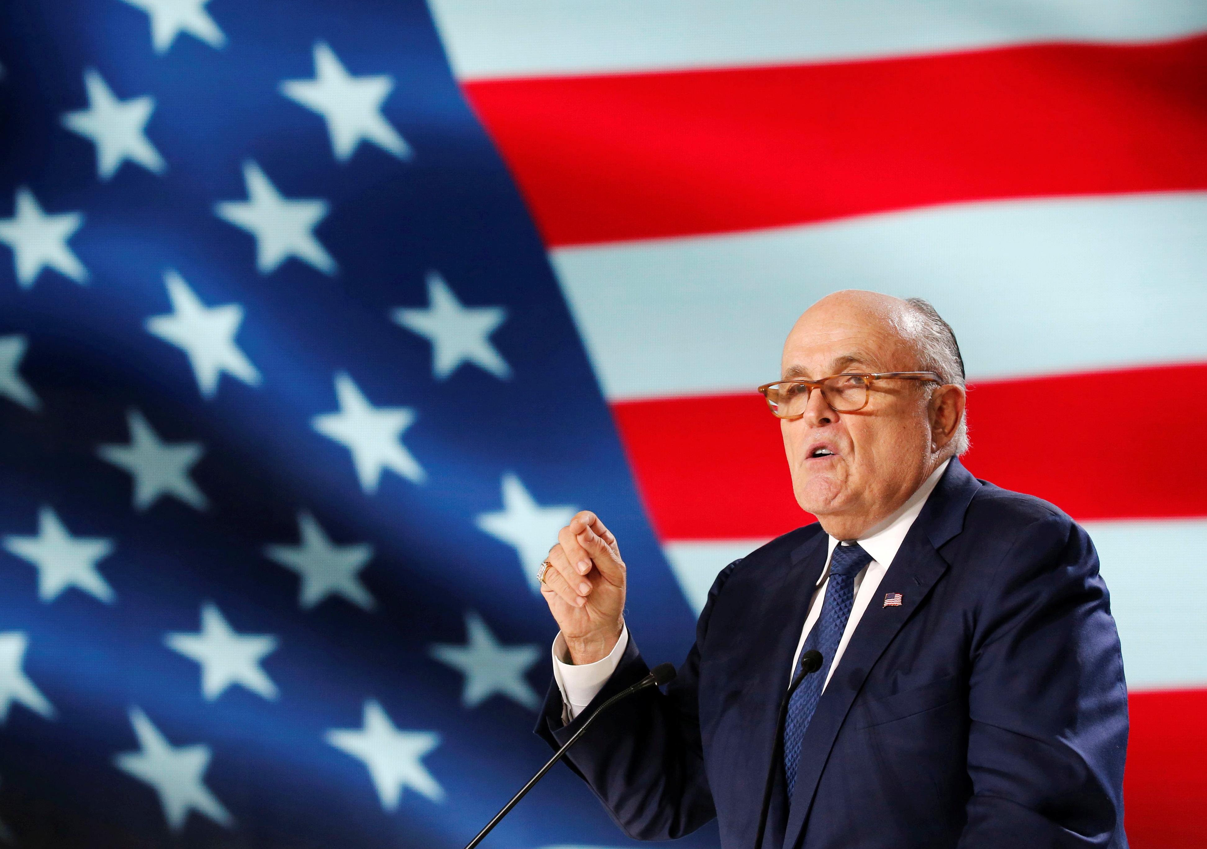 Rudy Giuliani, former Mayor of New York City, delivers his speech as he attends the National Council of Resistance of Iran (NCRI), meeting in Villepinte