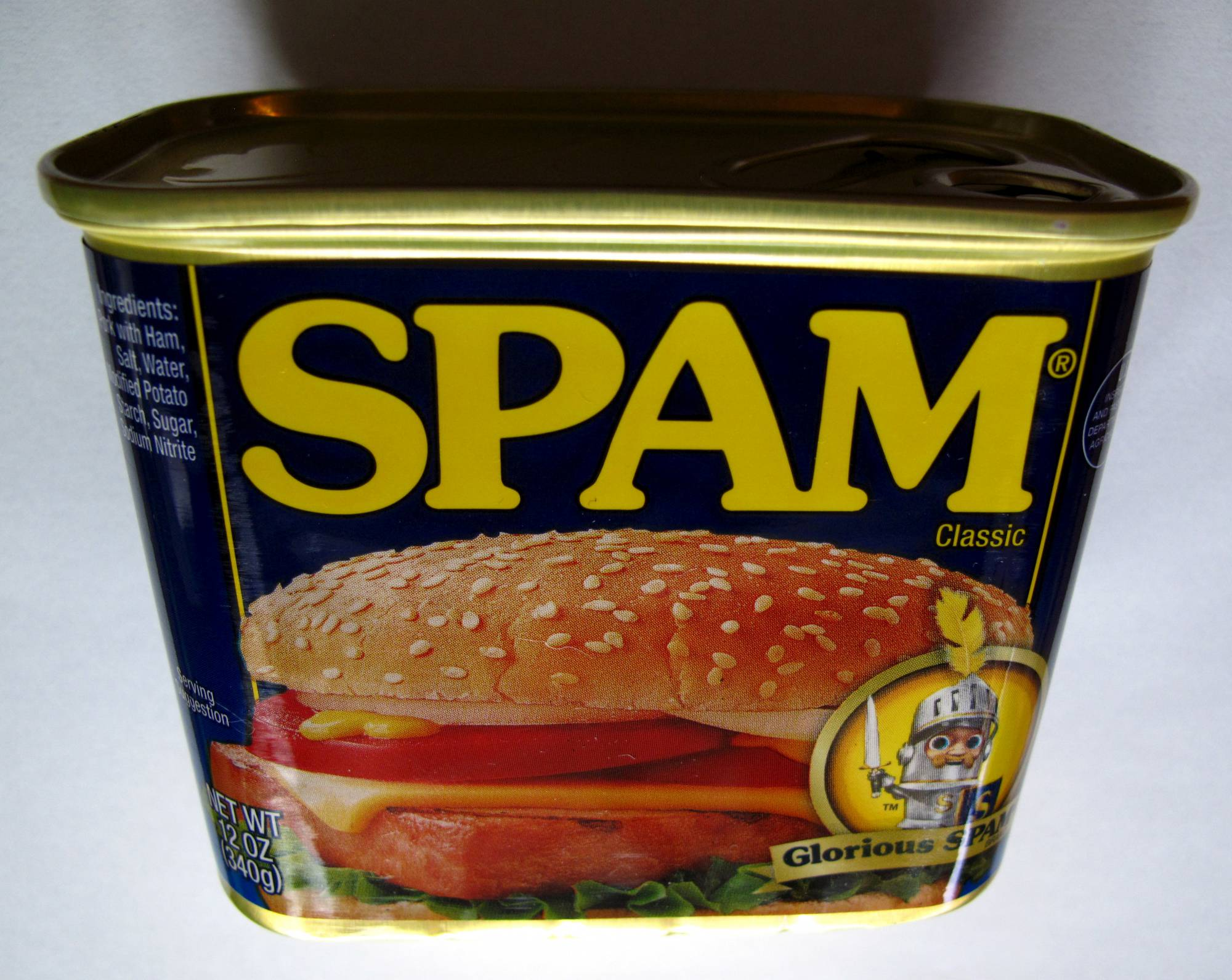 A can of Spam canned meat is shown in this illustration photograph in Encinitas, California