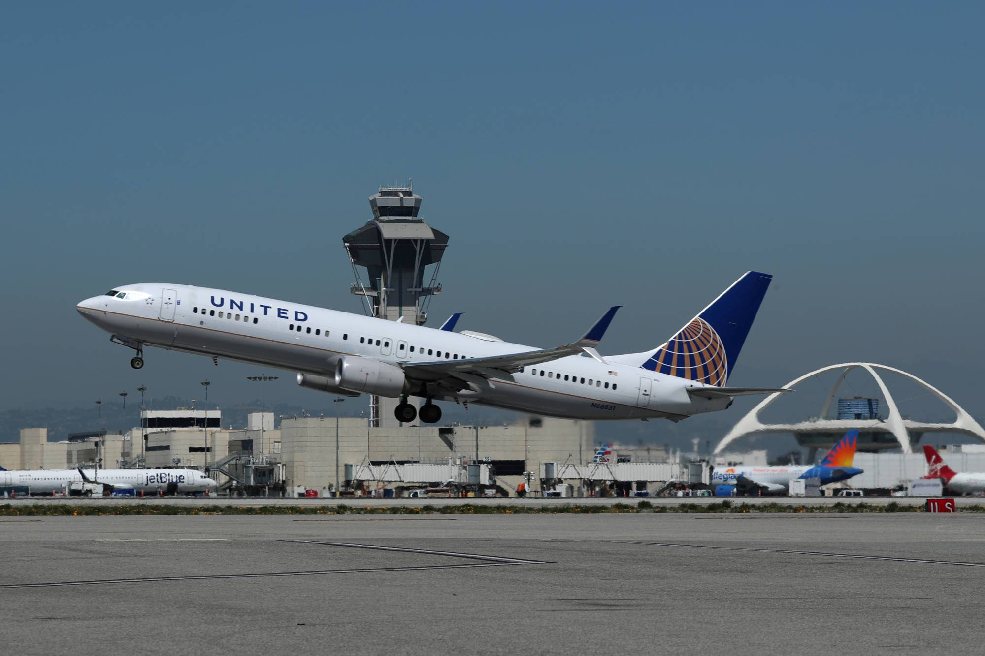 United Airlines Boeing 737 plane takes off from Los Angeles International airport