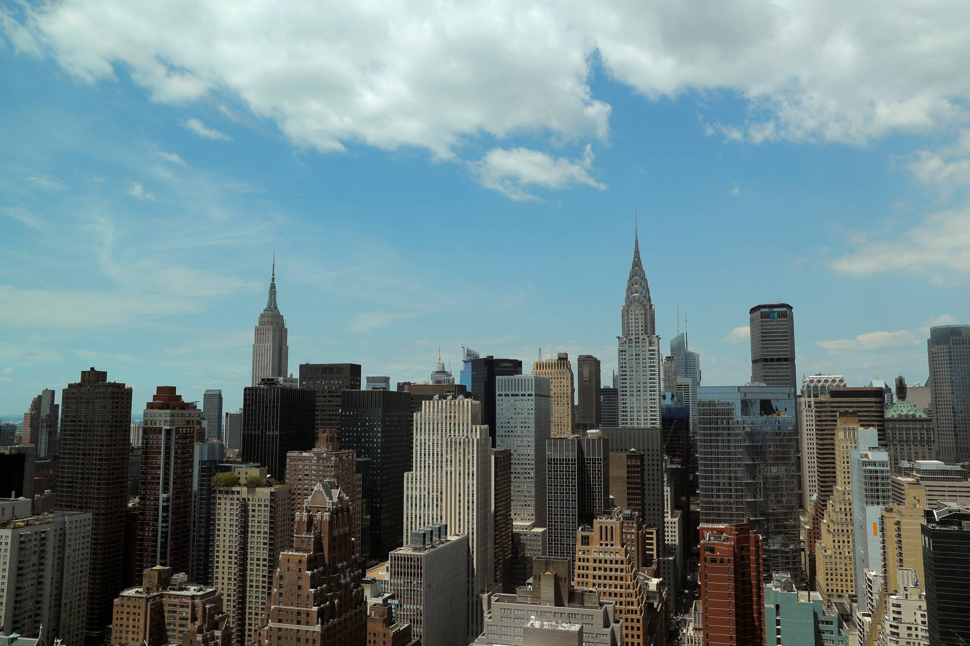 The skyline of midtown Manhattan in New York City as seen from the United Nations headquarters in New York