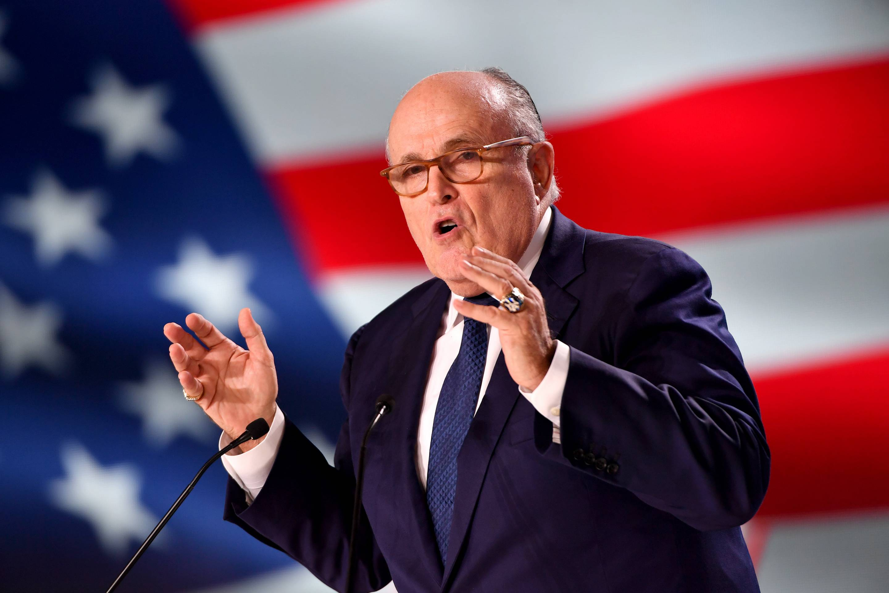 Former New York City mayor Rudy Giuliani speaks at the Conference in Support of Freedom and Democracy In Iran on June 30, 2018 in Paris.