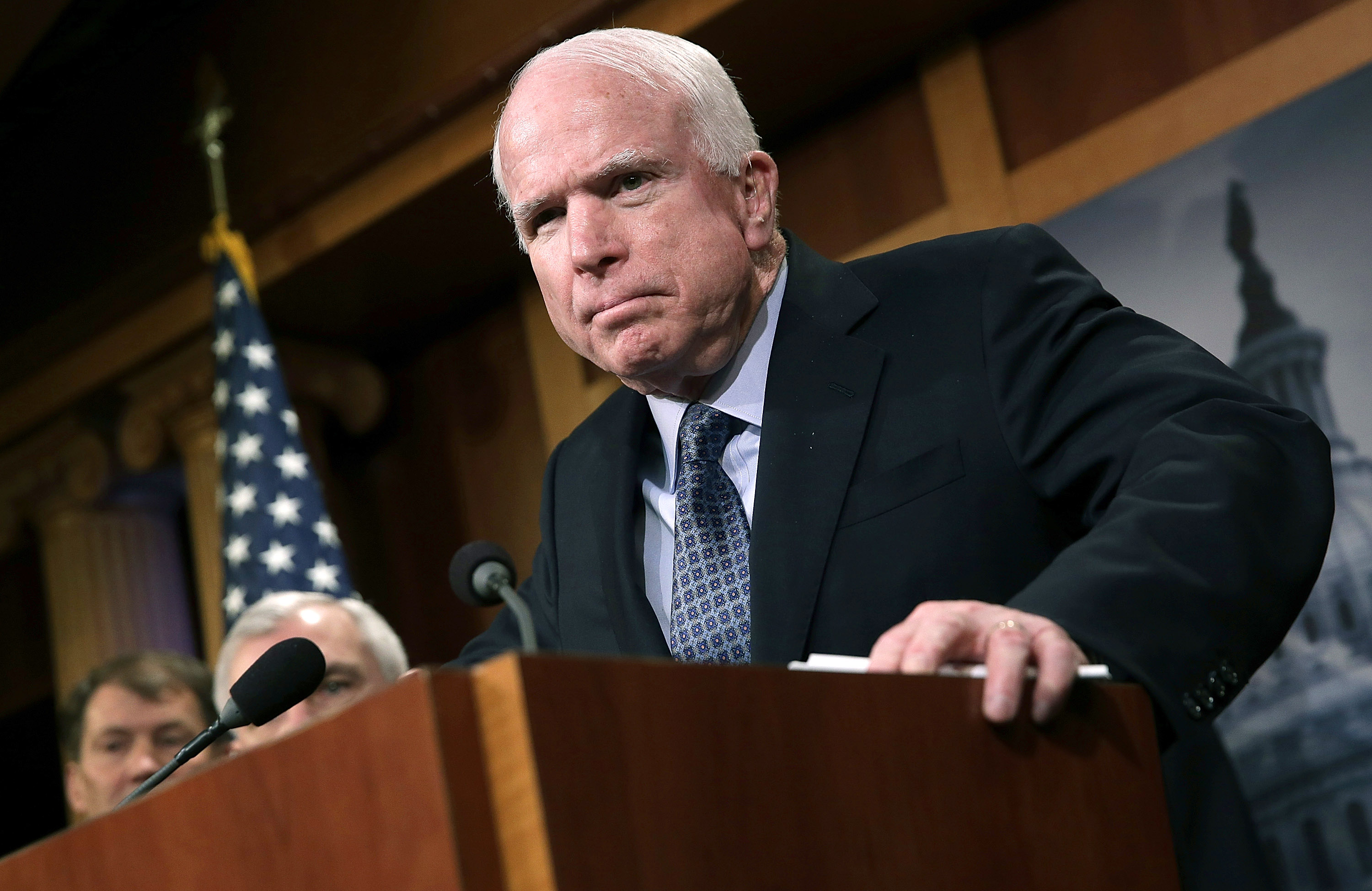 Sen. John McCain speaks during a press conference at the U.S. Capitol on February 5, 2015, in Washington, D.C.