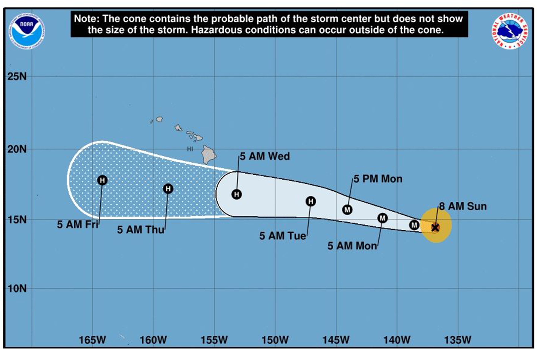 Hurricane Hector moves toward Hawaii, Pacific Ocean, --- - 05 Aug 2018