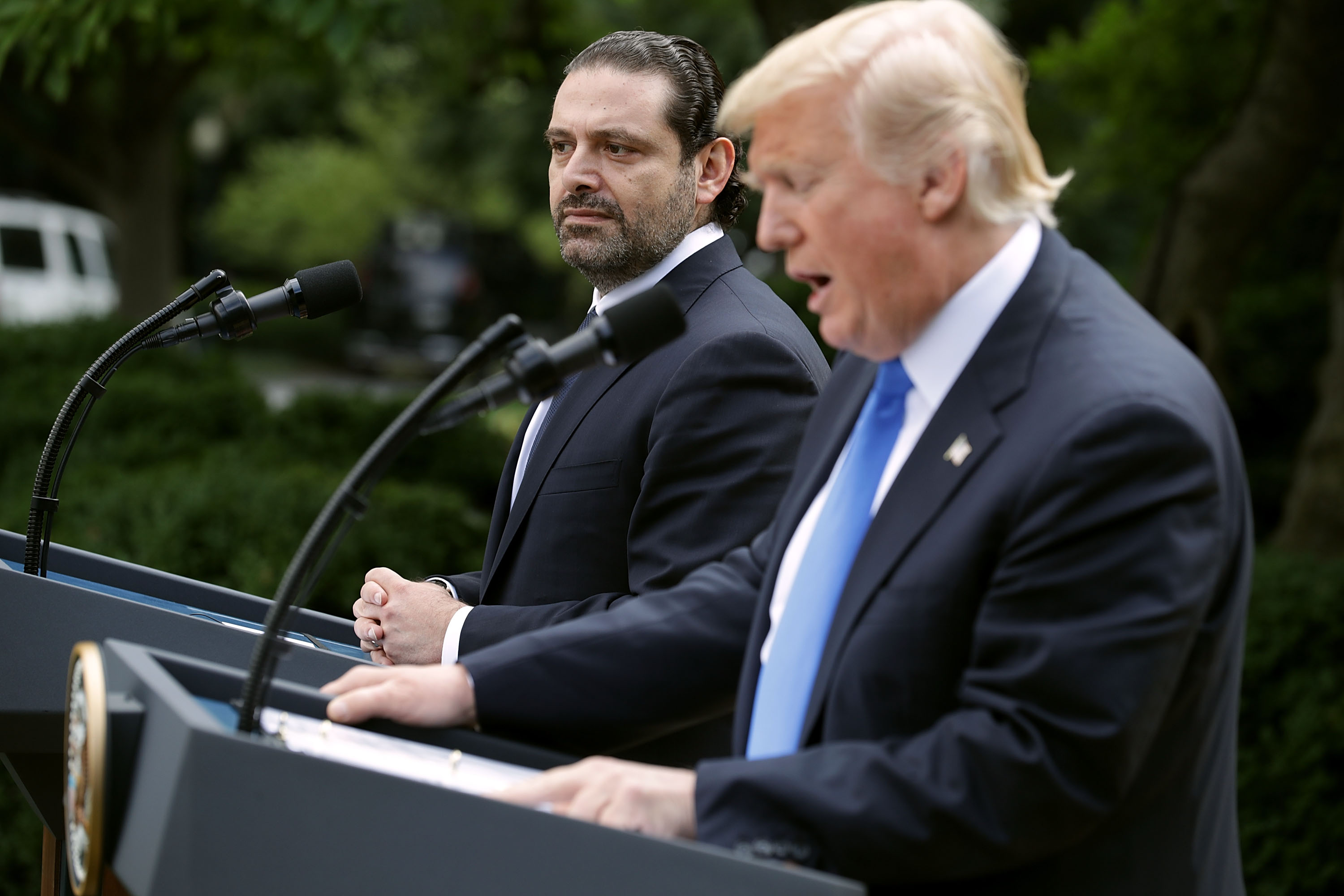 President Trump And Lebanese PM Hariri Deliver Joint Statements At White House