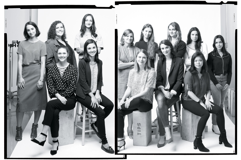 Standing, from left: Grace Donnelly, McKenna Moore, Jen Wieczner, Erika Fry, Emma Hinchliffe, Kacy Burdette, Lisa Marie Segarra, Monica Rodriguez; Seated, from left:  Carson Kessler, Polina Marinova, Kristen Bellstrom, Beth Kowitt, Lucinda Shen
