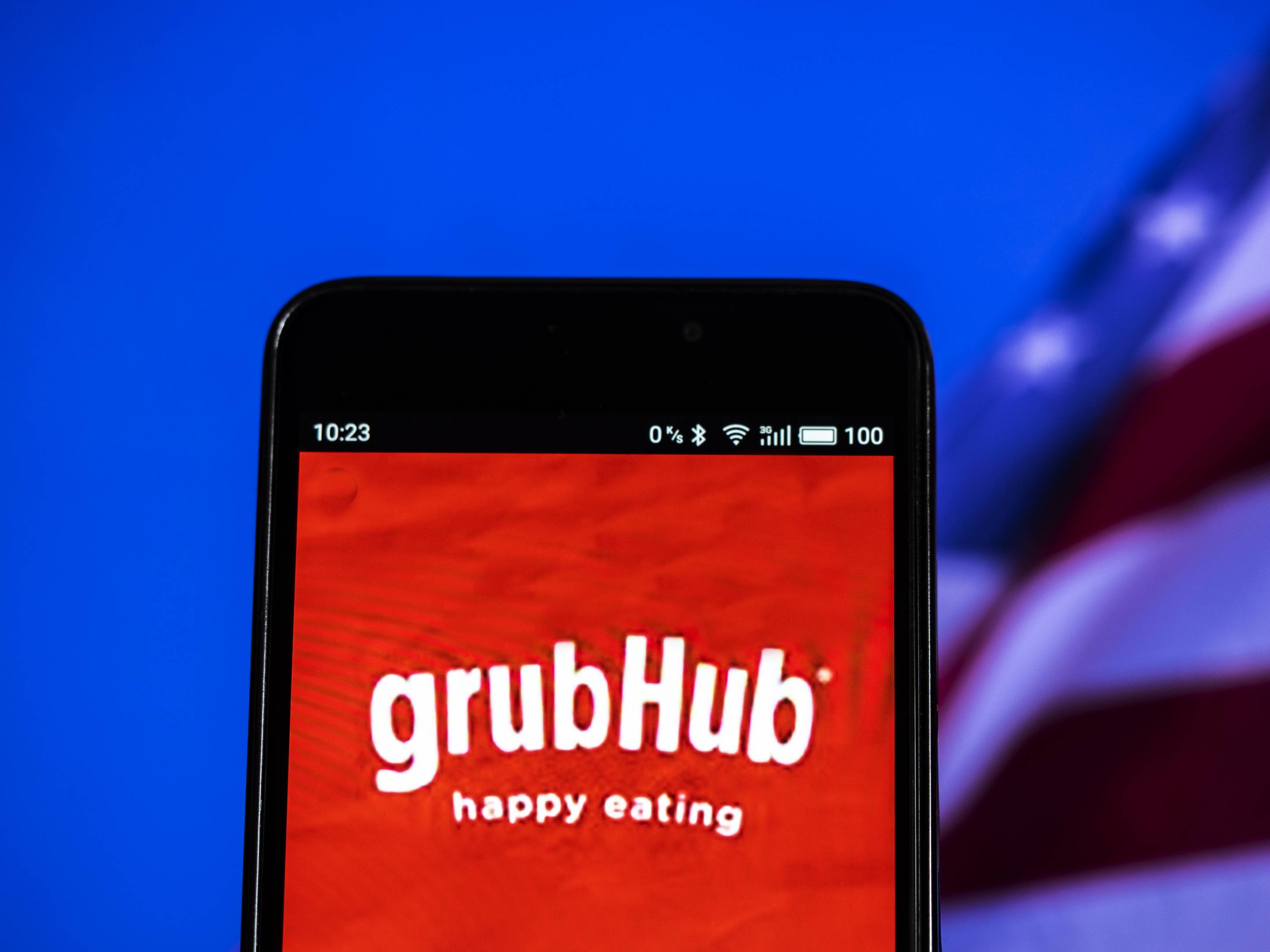 GrubHub logo seen displayed on a smart phone. Grubhub Inc.