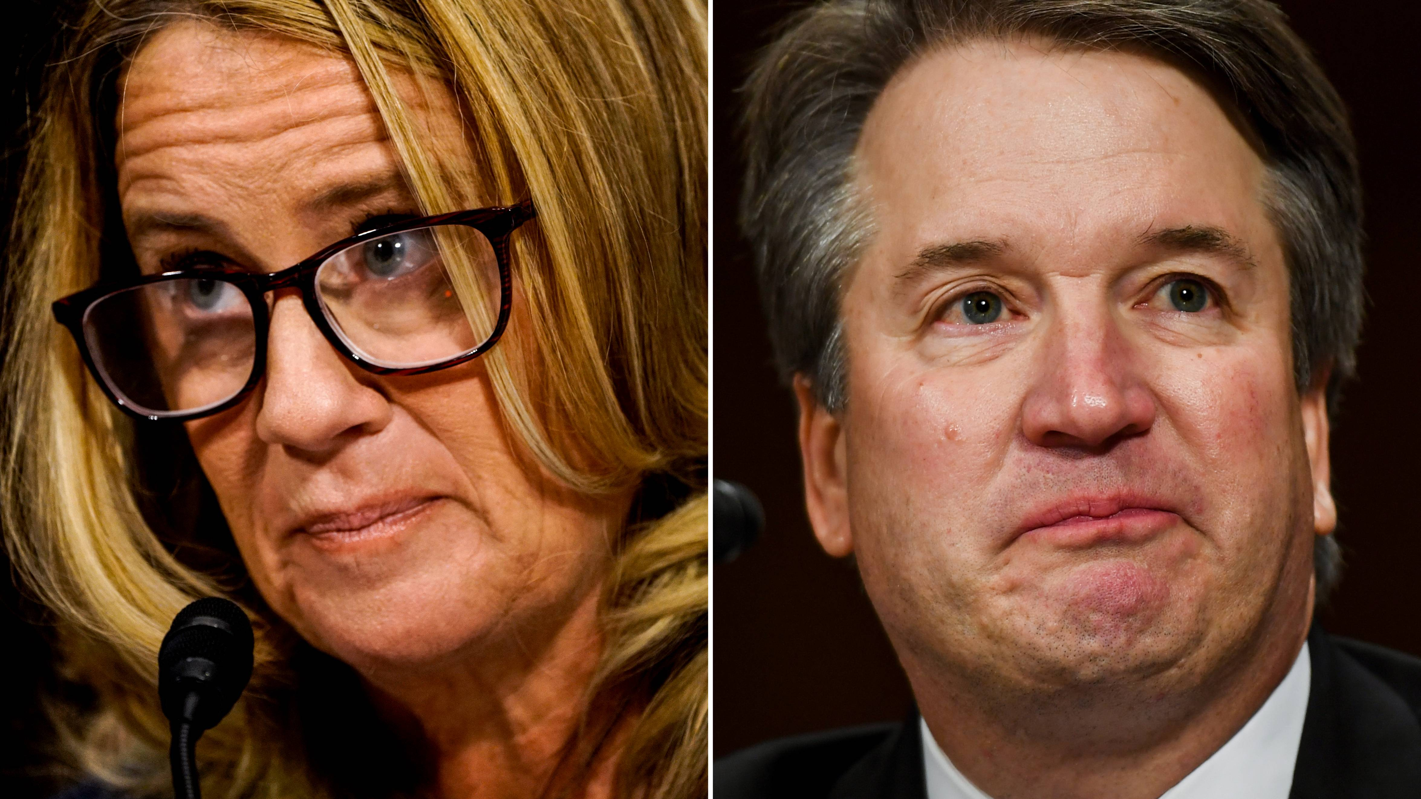 Left - Christine Blasey Ford at a Senate Judiciary Committee he