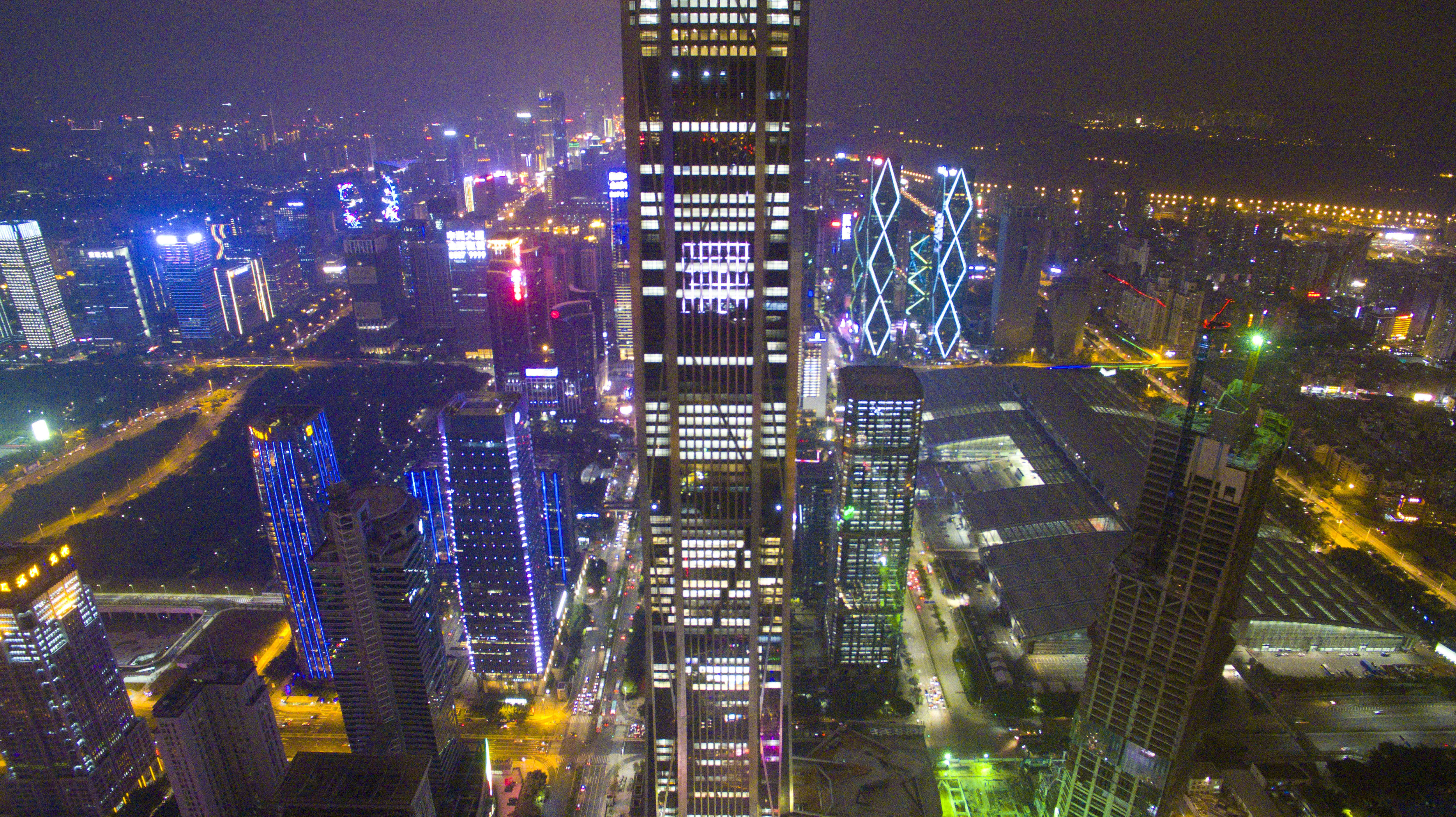 Aerial view of Ping An International Finance Centre in Shenzhen, Guangdong province, China.