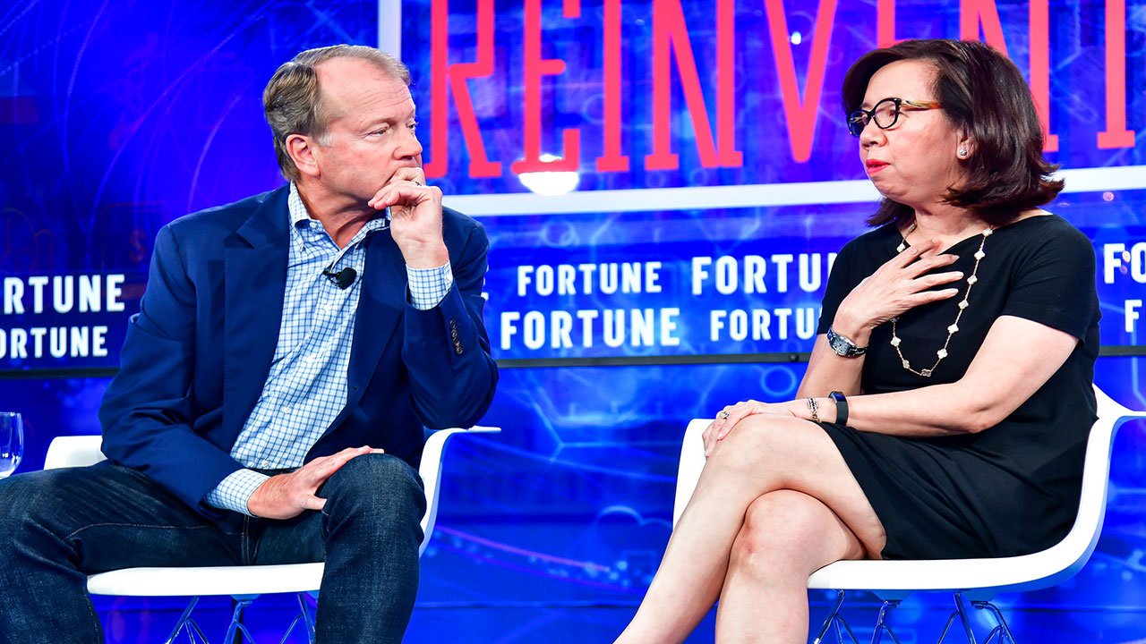 John Chambers, chairman emeritus of Cisco Systems, and Wan Ling Martello, executive vice president at Nestle and  director at Alibaba and Uber, speak at Fortune's Brainstorm Reinvent conference on Monday, Sept. 24 2018.