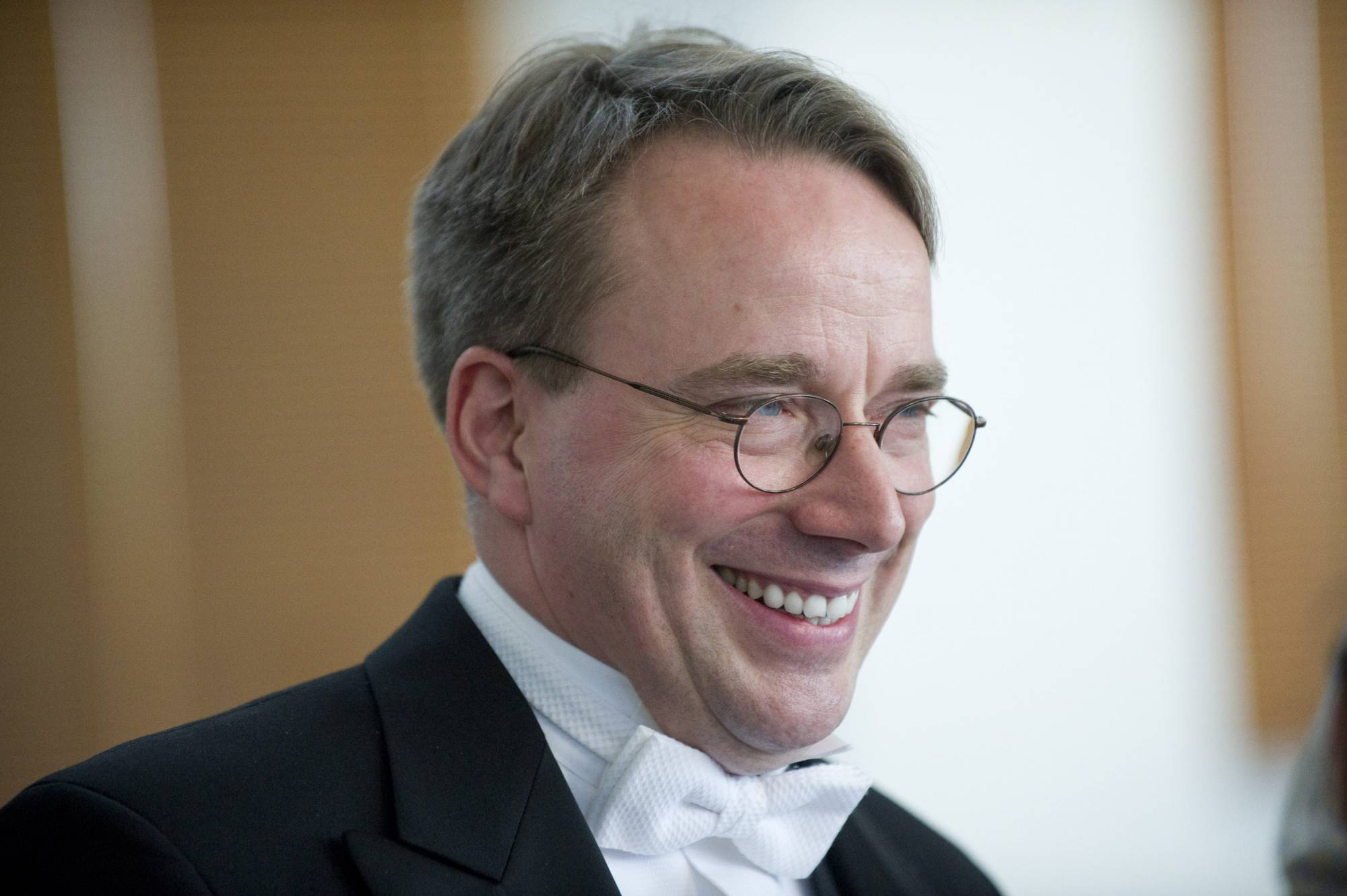 Linus Torvalds from Finland speaks after being awarded the 2012 Millennium Technology Prize in Helsinki