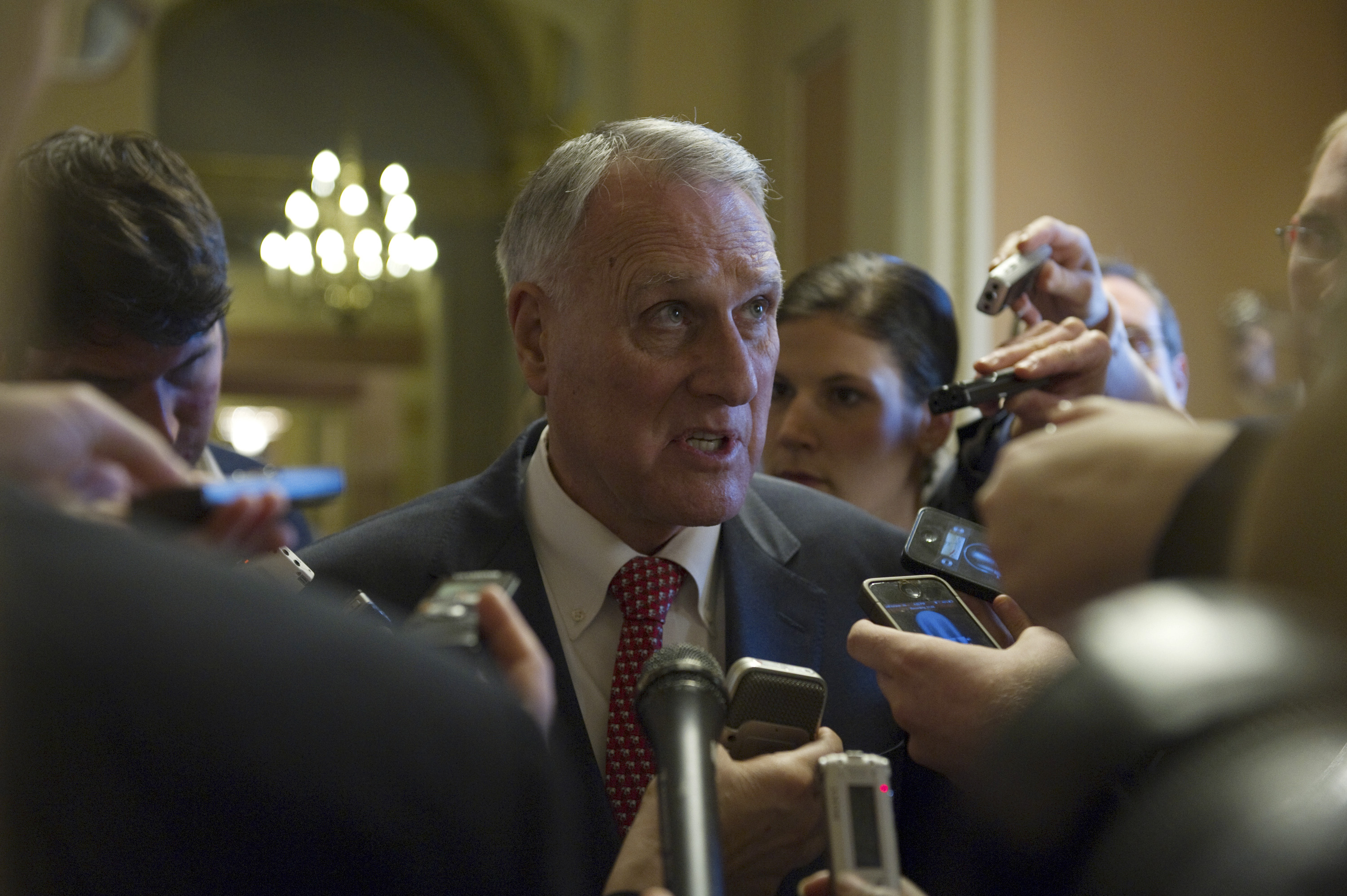 Sen. Kyl speaks to reporters following a caucus meeting at the U.S. Capitol in Washington