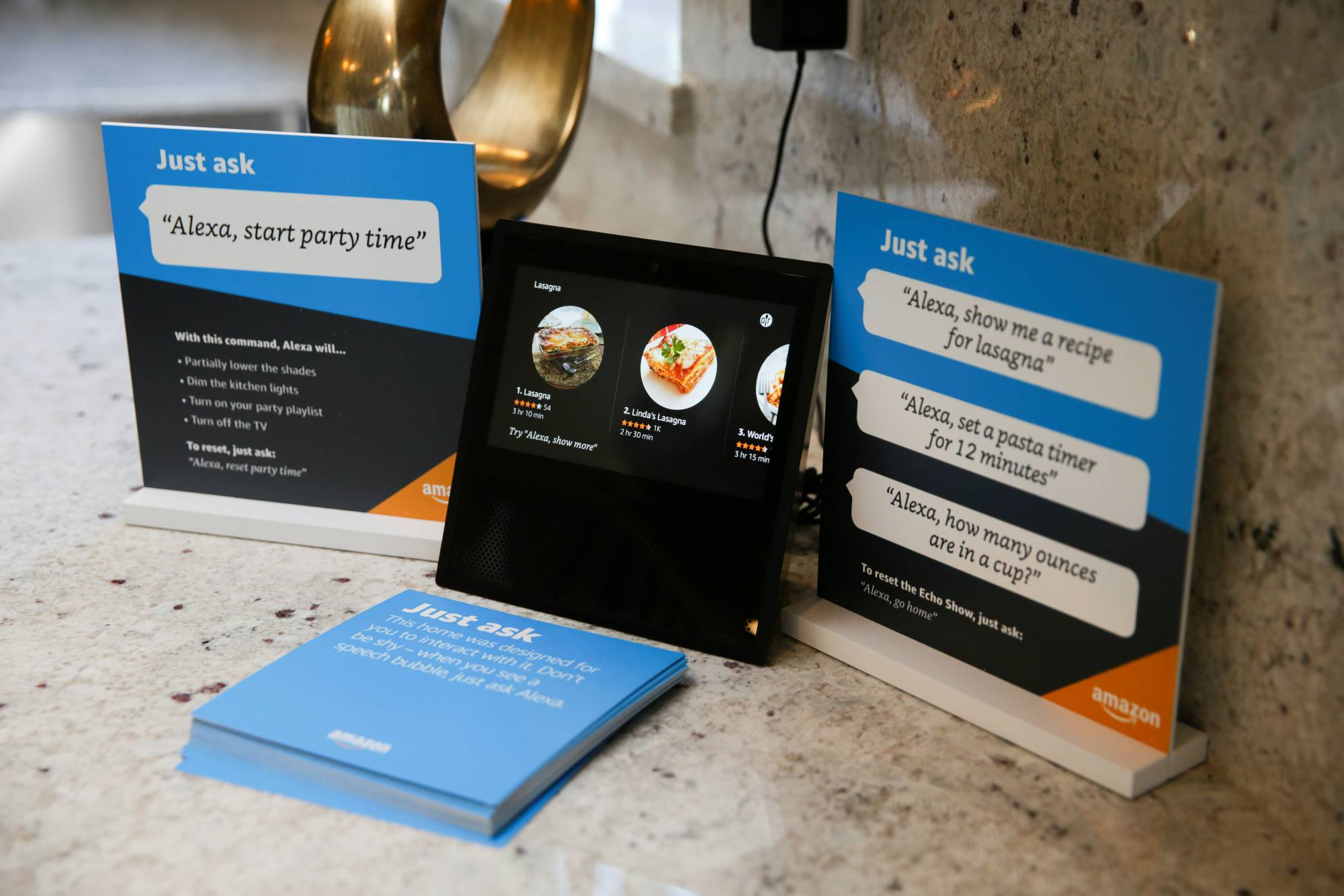 Recipes for Lasagna are seen on an Amazon Echo Show in an Amazon 'experience center'  in Vallejo