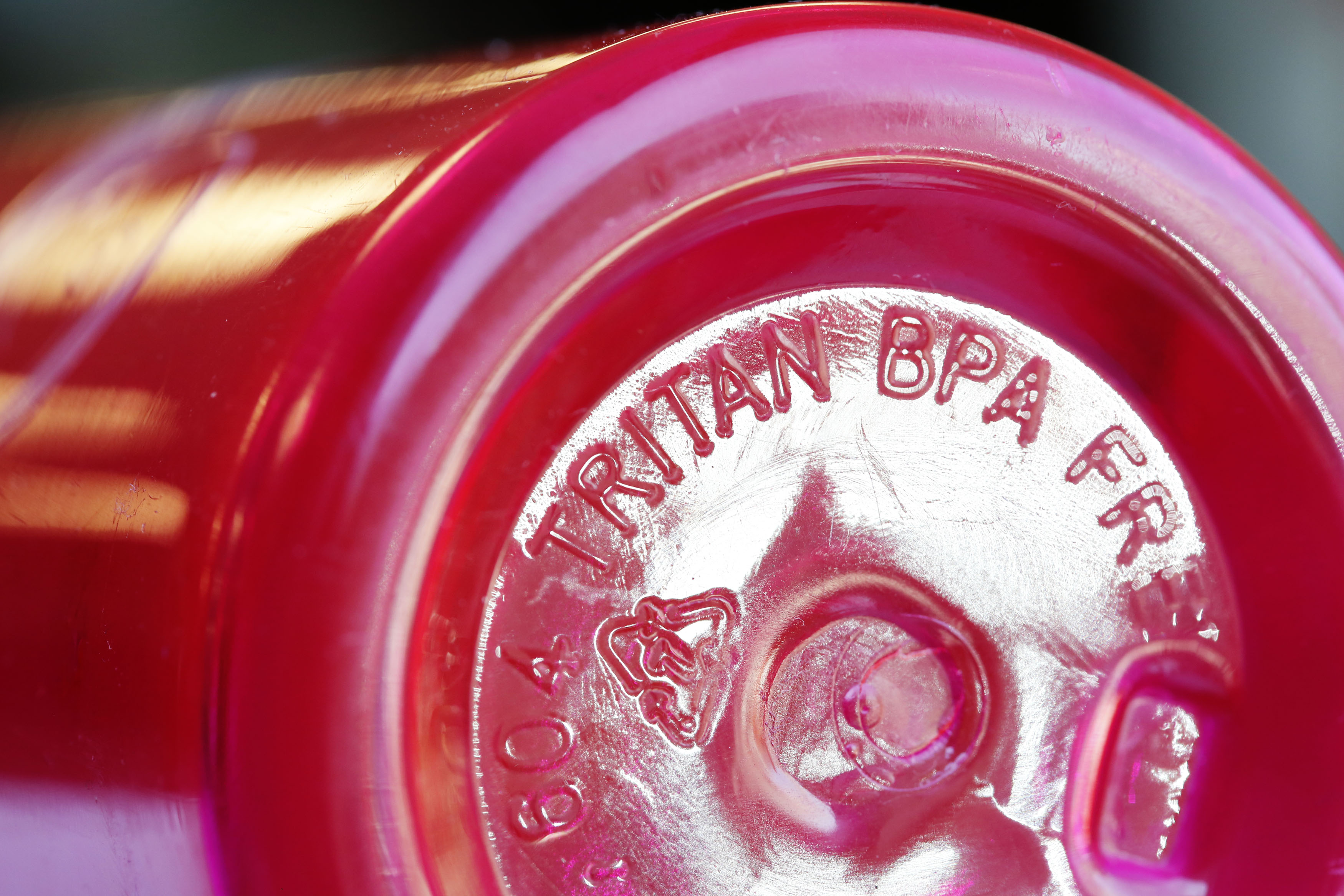 The bottom of a BPA-free Tritan water bottle is pictured in Toronto
