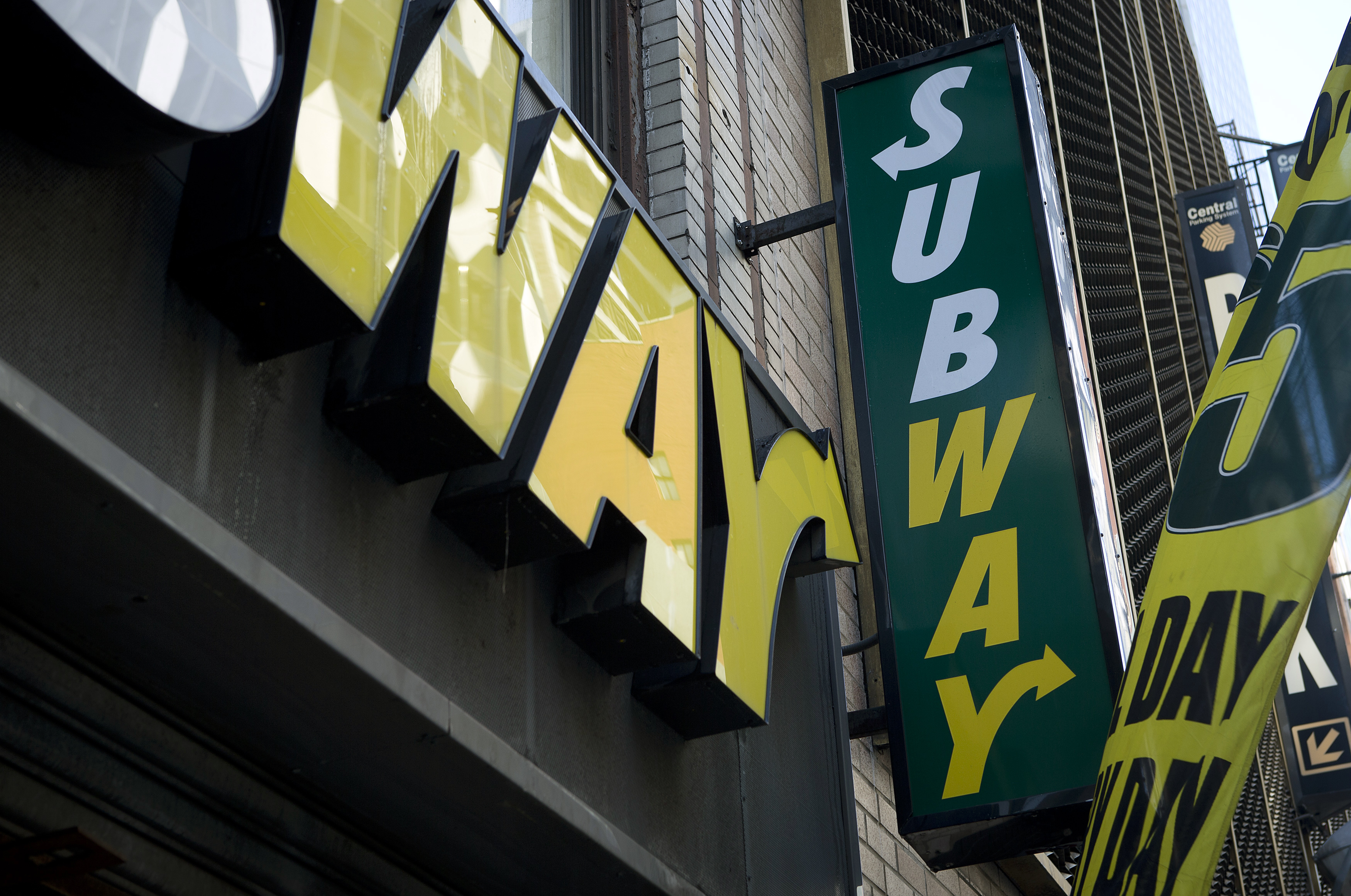 A Subway sandwich shop logo is pictured in the Manhattan borough of New York