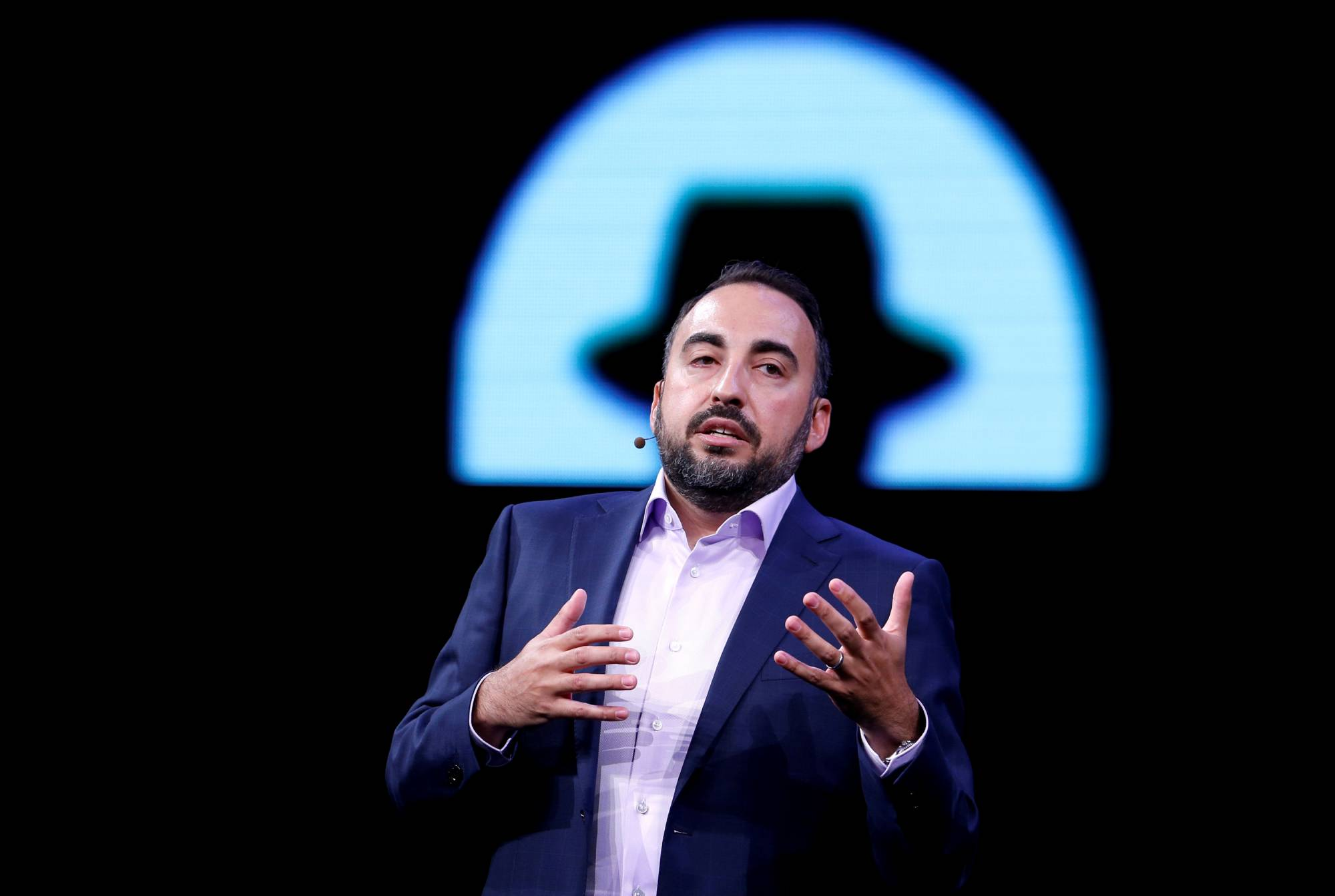 Facebook CSO Alex Stamos gives a keynote address during the Black Hat information security conference in Las Vegas
