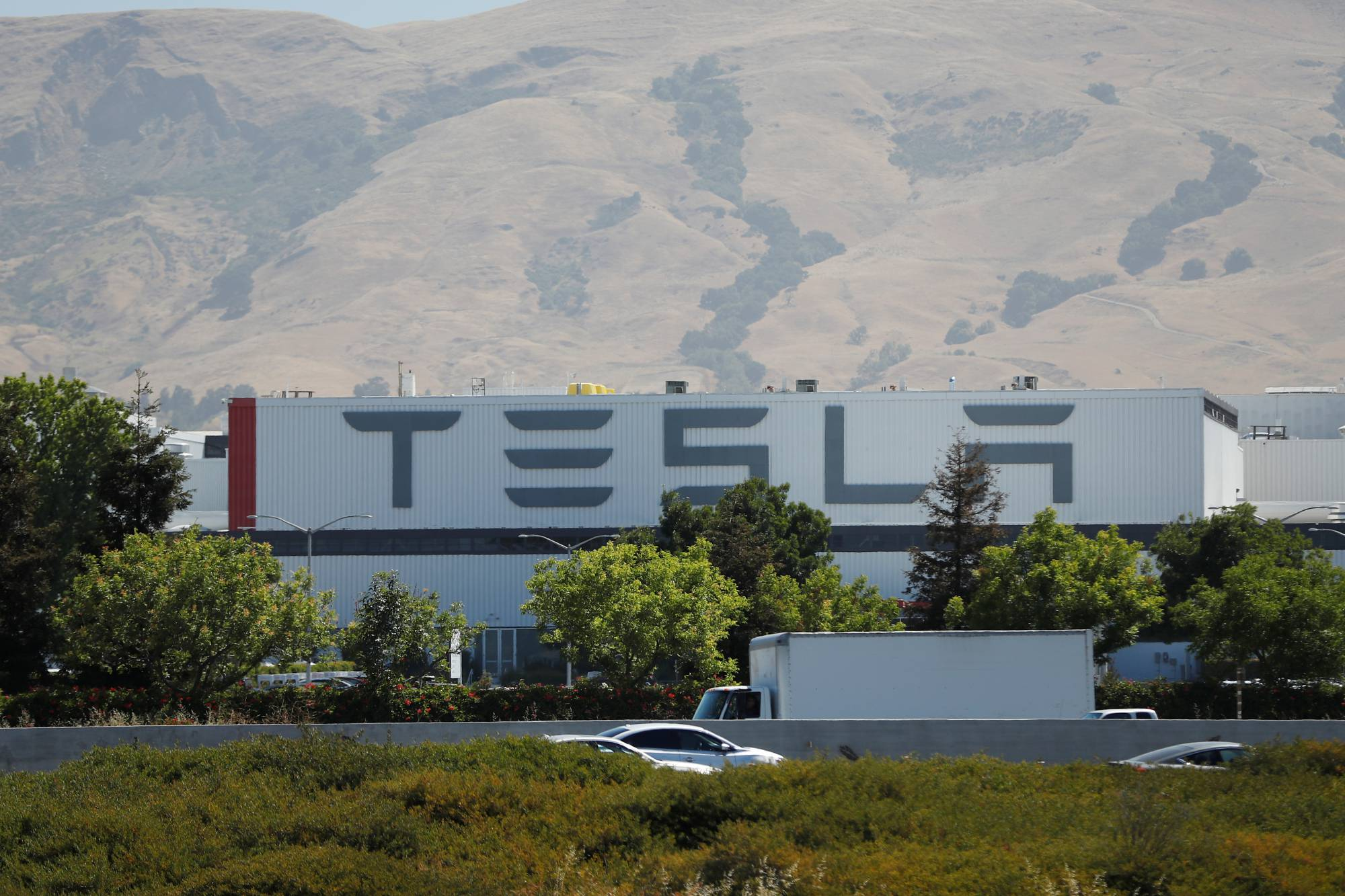 The Tesla factory is seen in Fremont