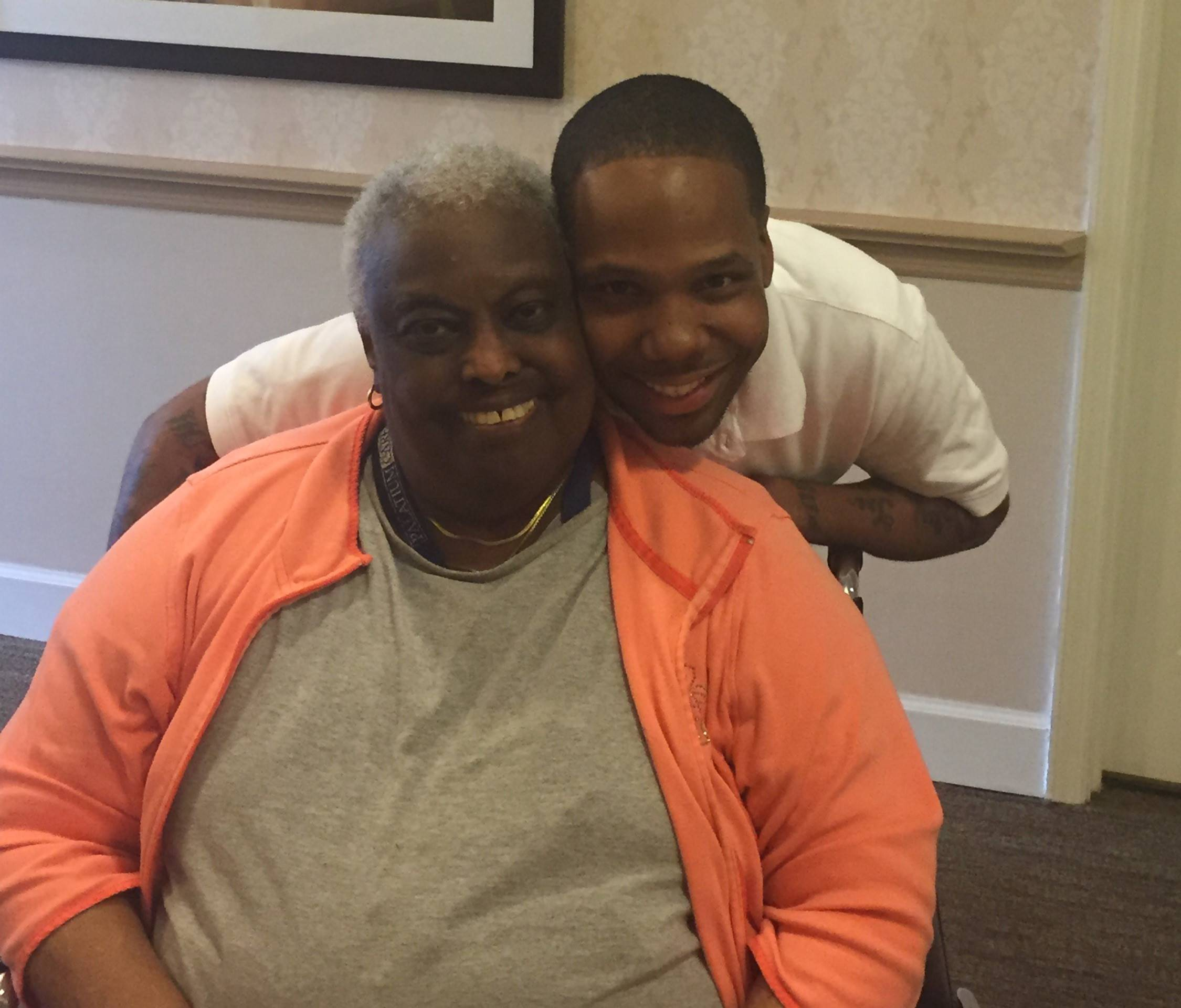 Sunrise Senior Living employee Delonte Carter (right), got his nursing license thanks in part to the tutoring help he received from Sunrise resident Jean Williams.