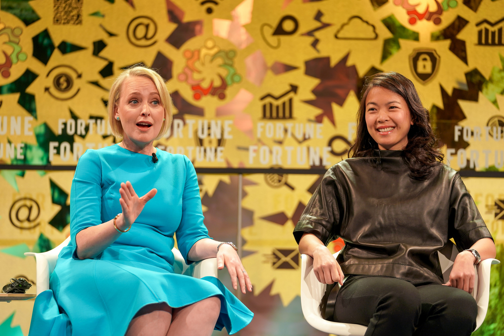 Julie Sweet (L), Accenture's CEO for North America, and Christine Moy (R), JPMorgan Chase's blockchain team leader for the corporate and investment bank, discuss how businesses should determine uses for blockchains at Fortune's Global Forum in Toronto, Canada on Wed. Oct. 17th, 2018.