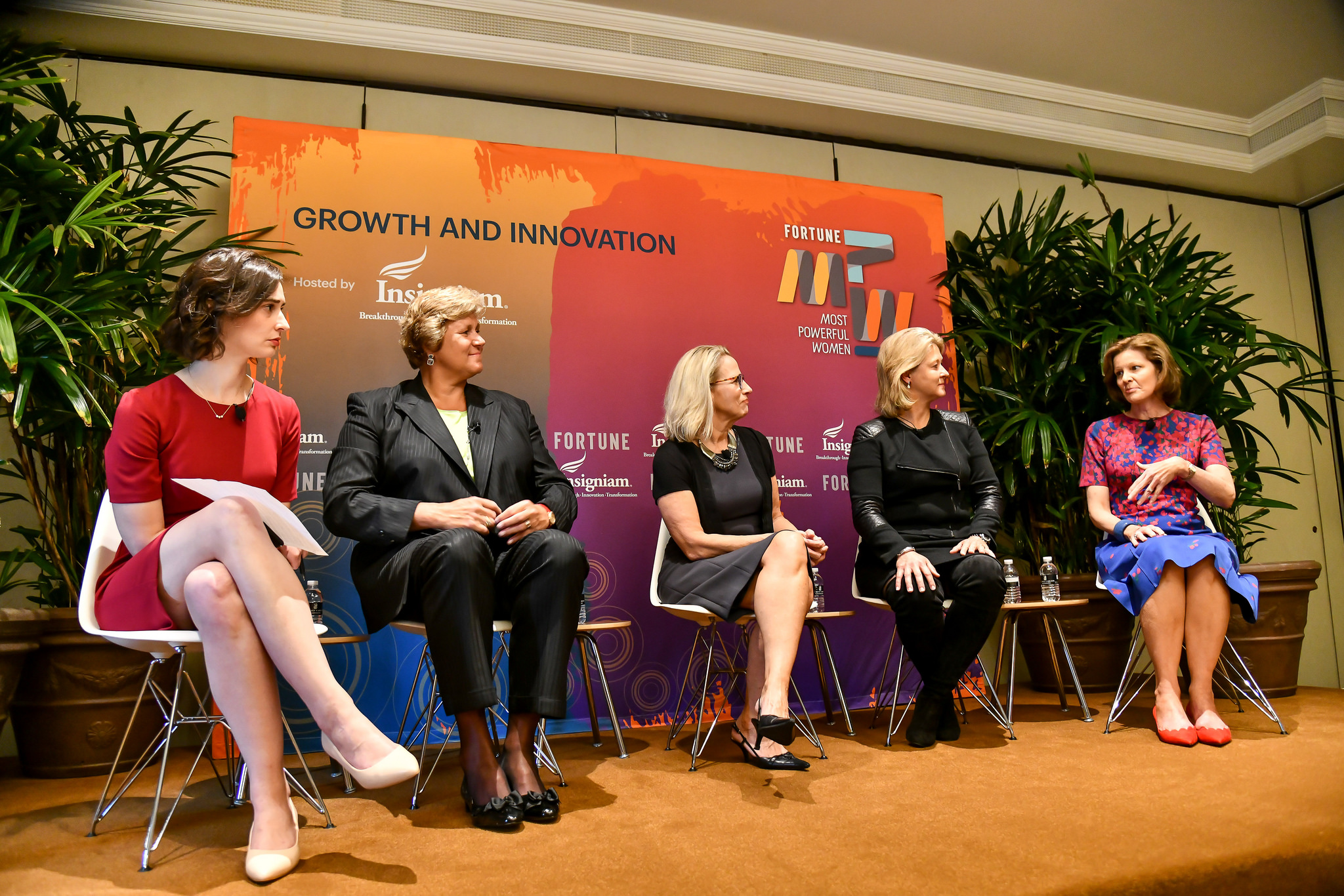 Left to right: Beth Kowitt of Fortune, Gail Boudreaux of Anthem, Michele Buck of the Hershey Co., Terri Kallsen of Charles Schwab & Co., and Deanna Mulligan of the Guardian Life Insurance Co. at the 2018 Fortune Most Powerful Women Summit in Laguna Niguel, Calif.
