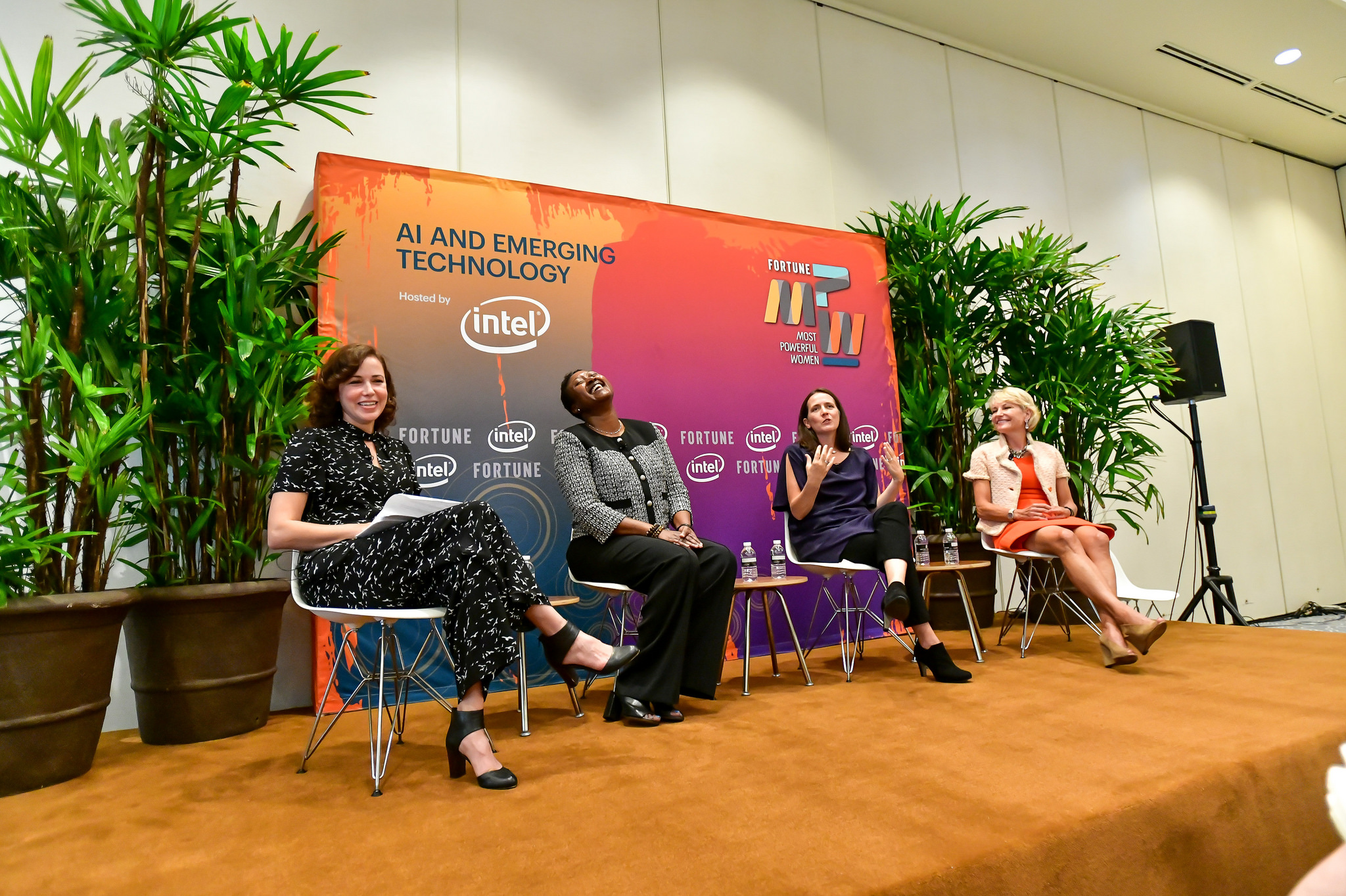Michal Lev-Ram of Fortune, Aicha Evans of Intel, Toni Reid of Amazon, and Bridget van Kralingen of IBM at the 2018 Fortune Most Powerful Women Summit in Laguna Niguel, Calif.