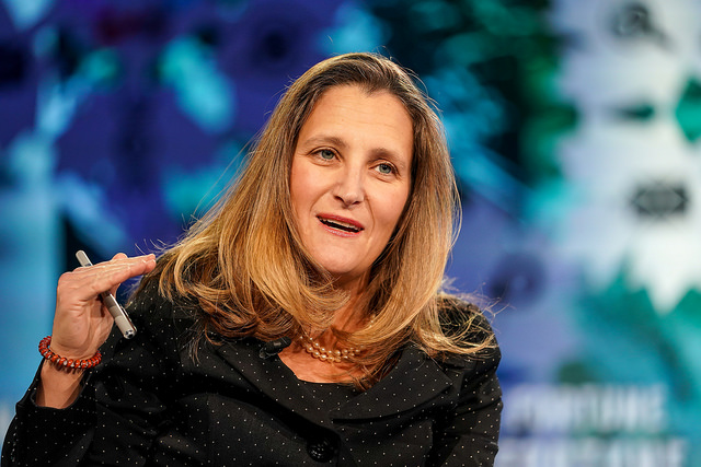 Canadian minister of foreign affairs Chrystia Freeland talked trade and human rights at the Fortune Global Forum in Toronto.