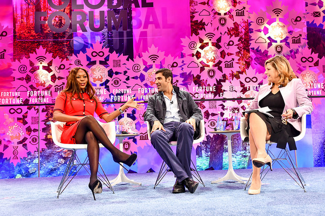 Dambisa Moyo and Parag Khanna with Nina Easton at Fortune Global Forum on October 12, 2018.