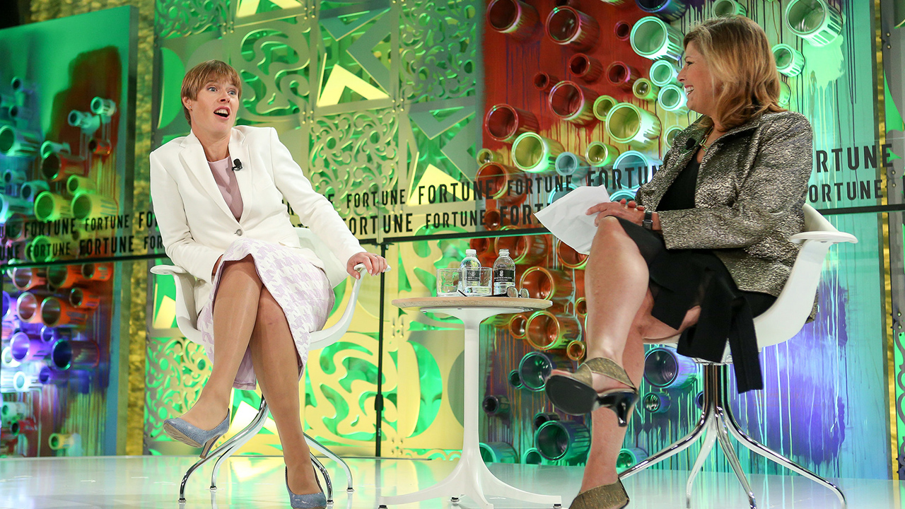 Kersit Kaljulaid, the president of the Republic of Estonia, discusses the country's e-government and digital approach with Fortune's Nina Easton at the Most Powerful Women Summit in Laguna Niguel, Calif. on October 2, 2018.
