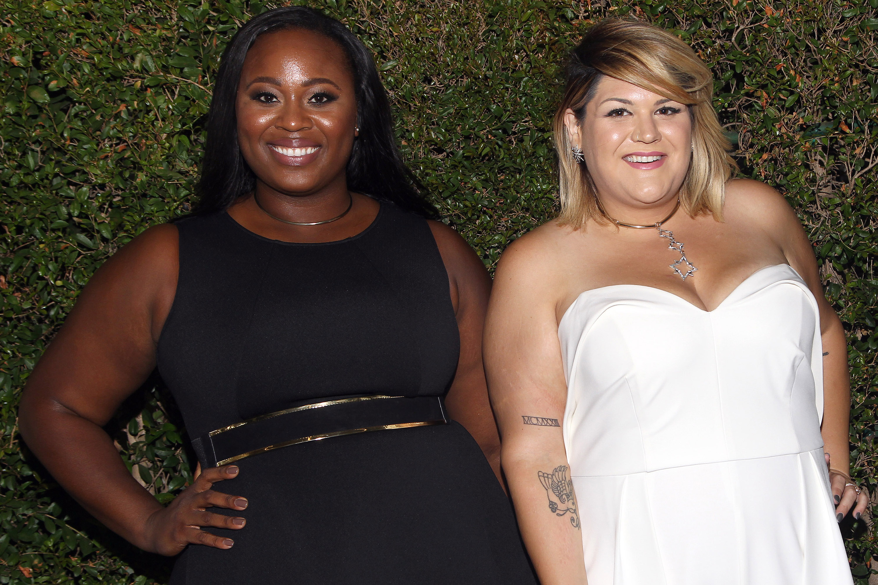 Olympic Gold Medalist Michelle Carter and Blogger Nicolette Mason at the 68th Emmy Awards wearing ELOQUII
