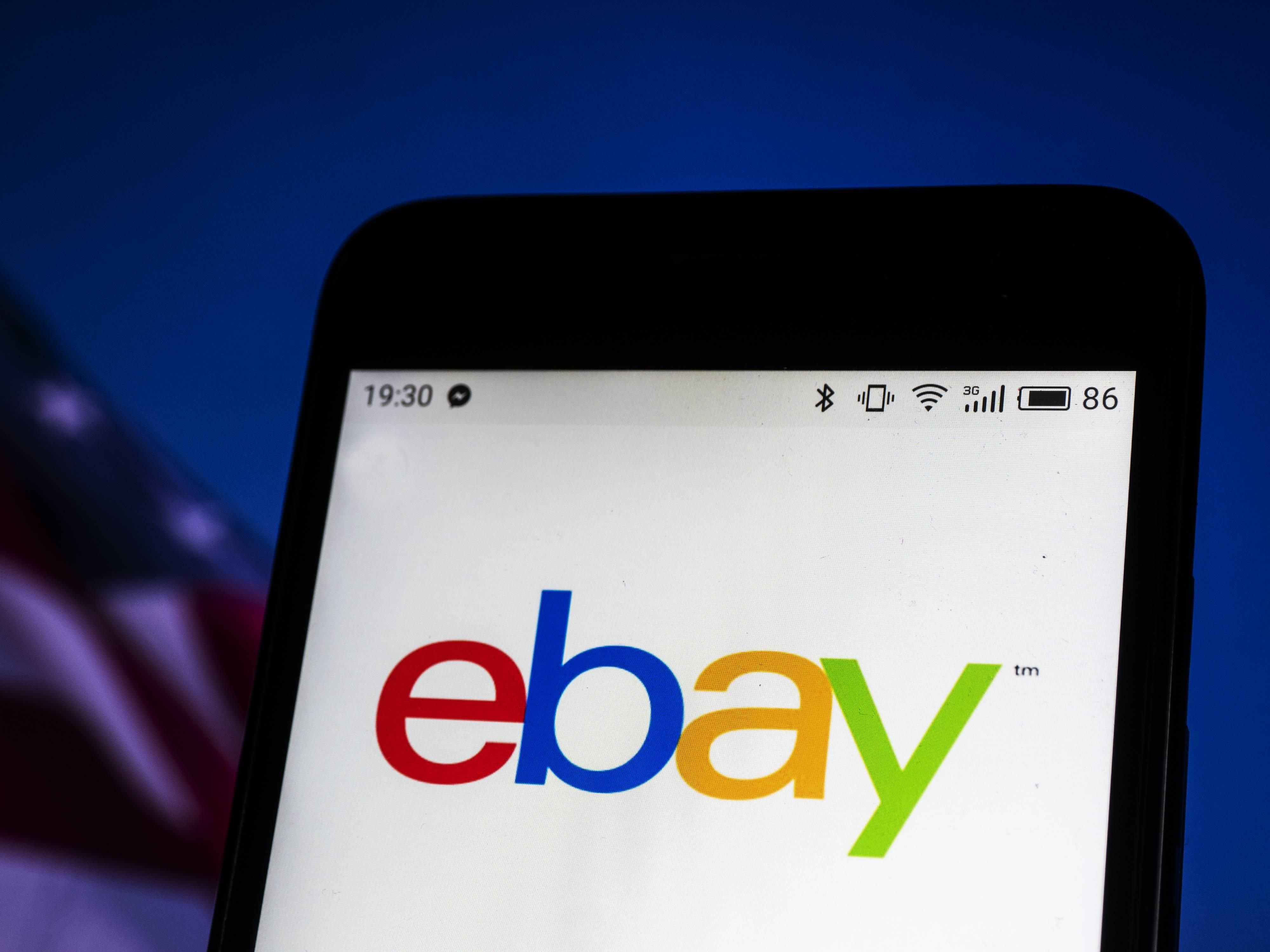 eBay company logo seen displayed on a smart phone