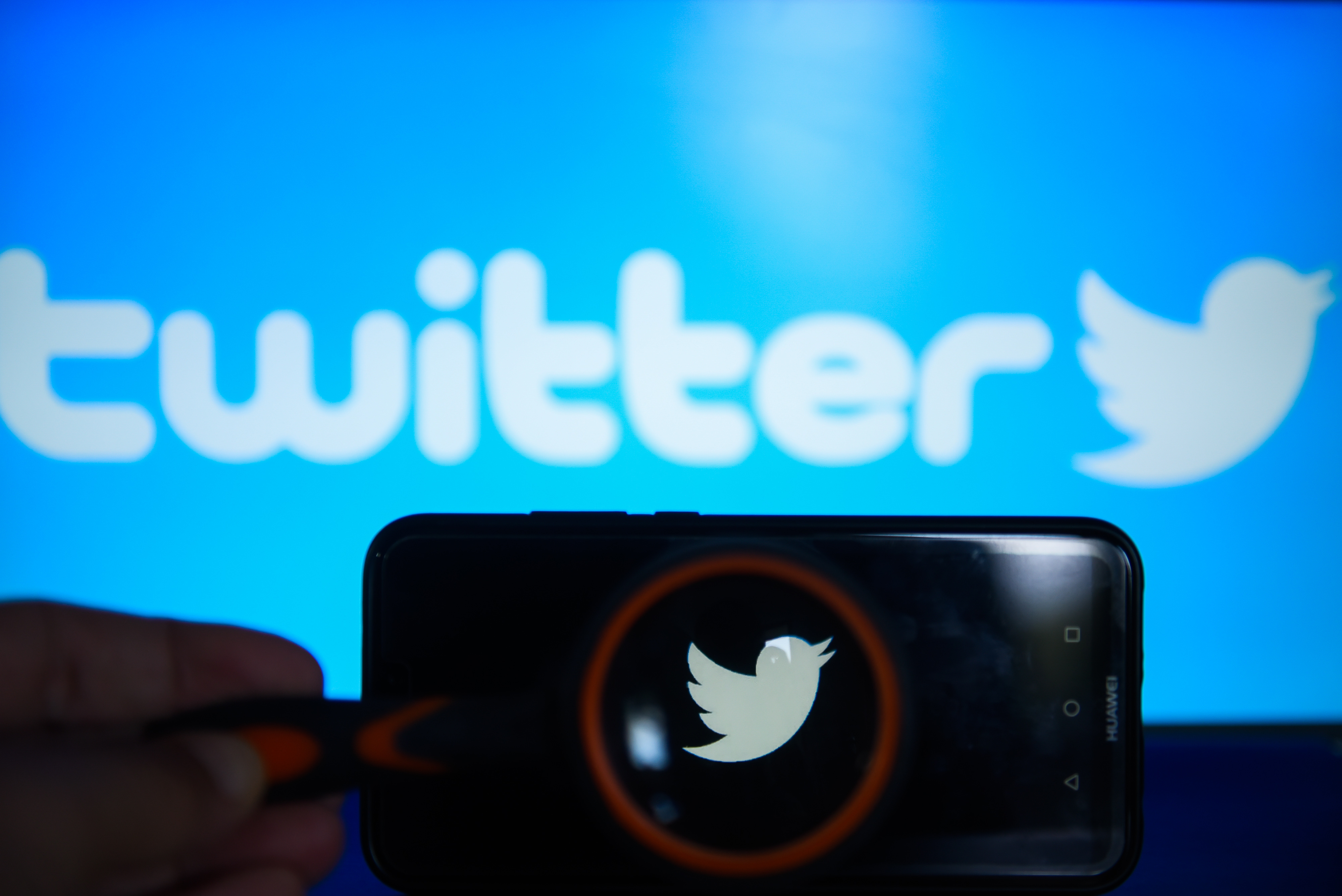 Twitter  logo is seen trough a magnifying glass on an